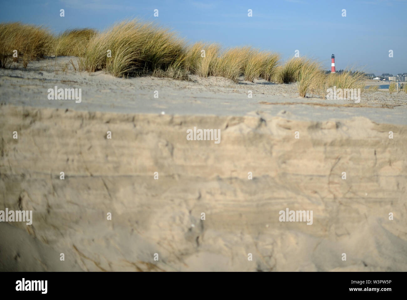 Sylt, Germany. 18th Feb, 2019. View over the dunes to the lighthouse Hörnum in the south on the island Sylt. Sylt is the largest North Frisian island in Germany. Credit: Britta Pedersen/dpa-Zentralbild/ZB/dpa/Alamy Live News - Stock Image