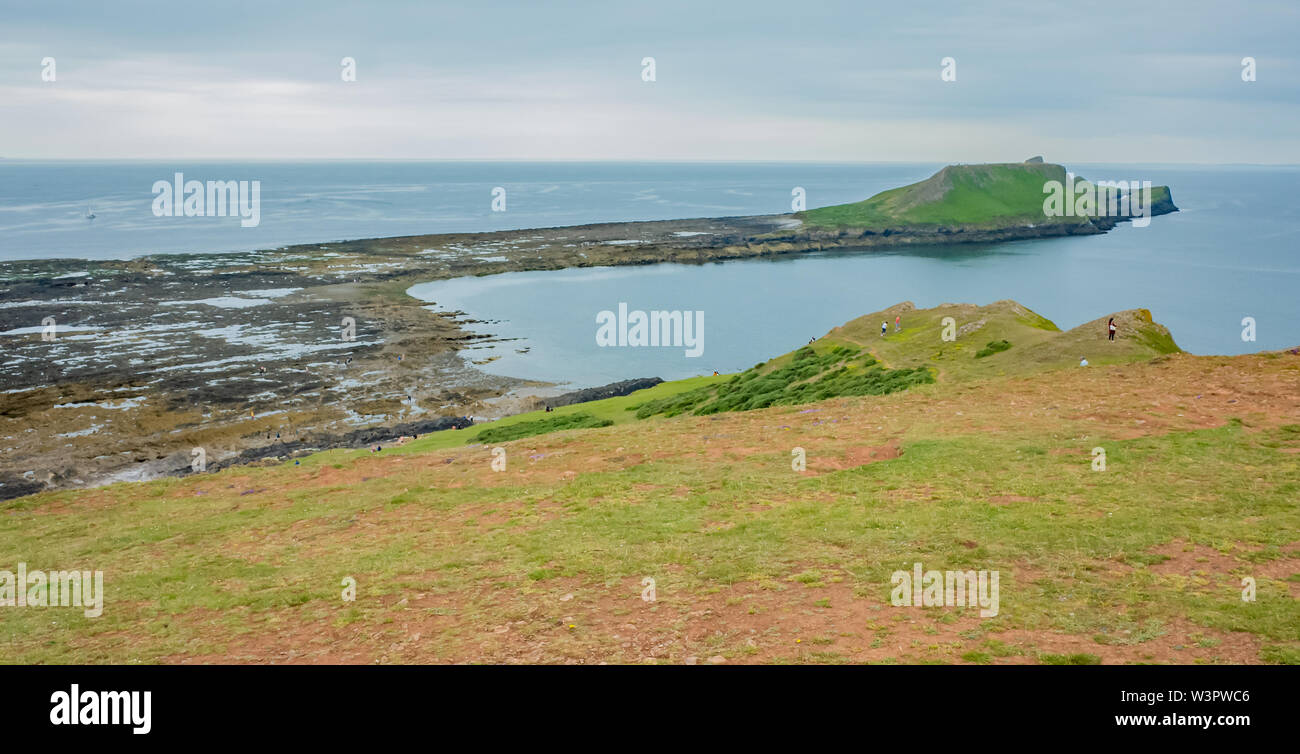 A view of the causeway to Worm's Head on the coast of South Wales Stock Photo