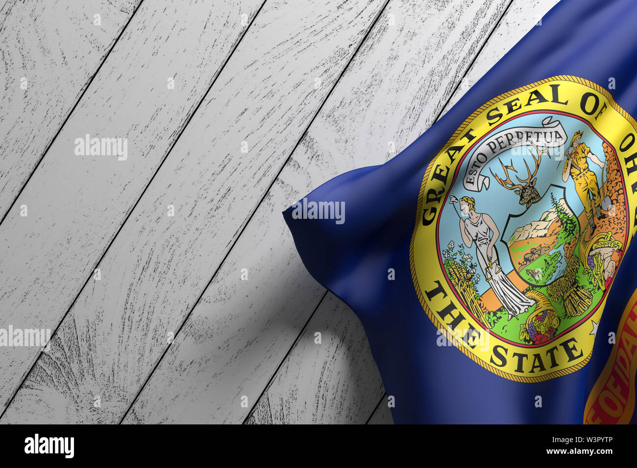 3d rendering of an American Idaho State flag on a wooden surface - Stock Image