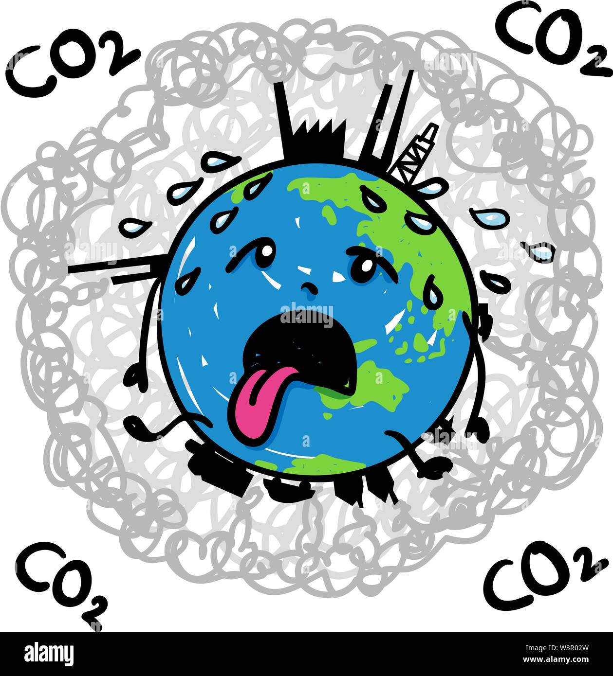 Earth globe suffering under global warming melting away in midst of carbon dioxide - hand drawn vector cartoon - Stock Image
