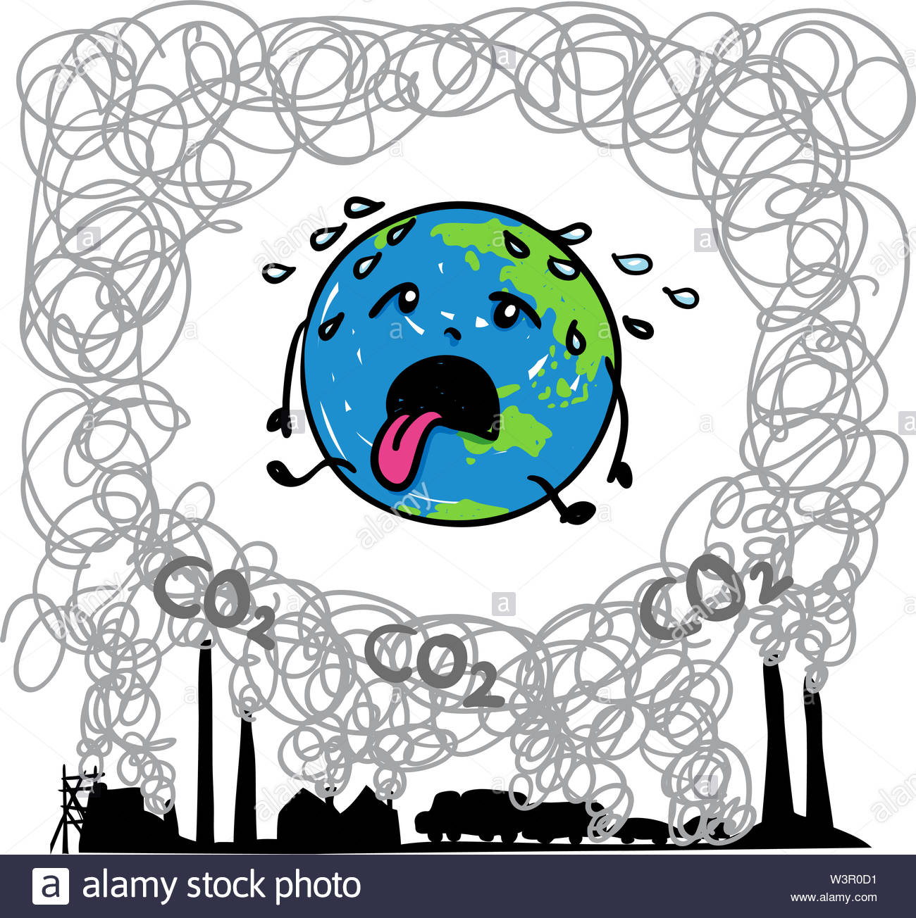 Earth globe suffering under global warming melting away in midst of carbon dioxide. Suitable for environmentalism, climate change, ecology - Stock Image