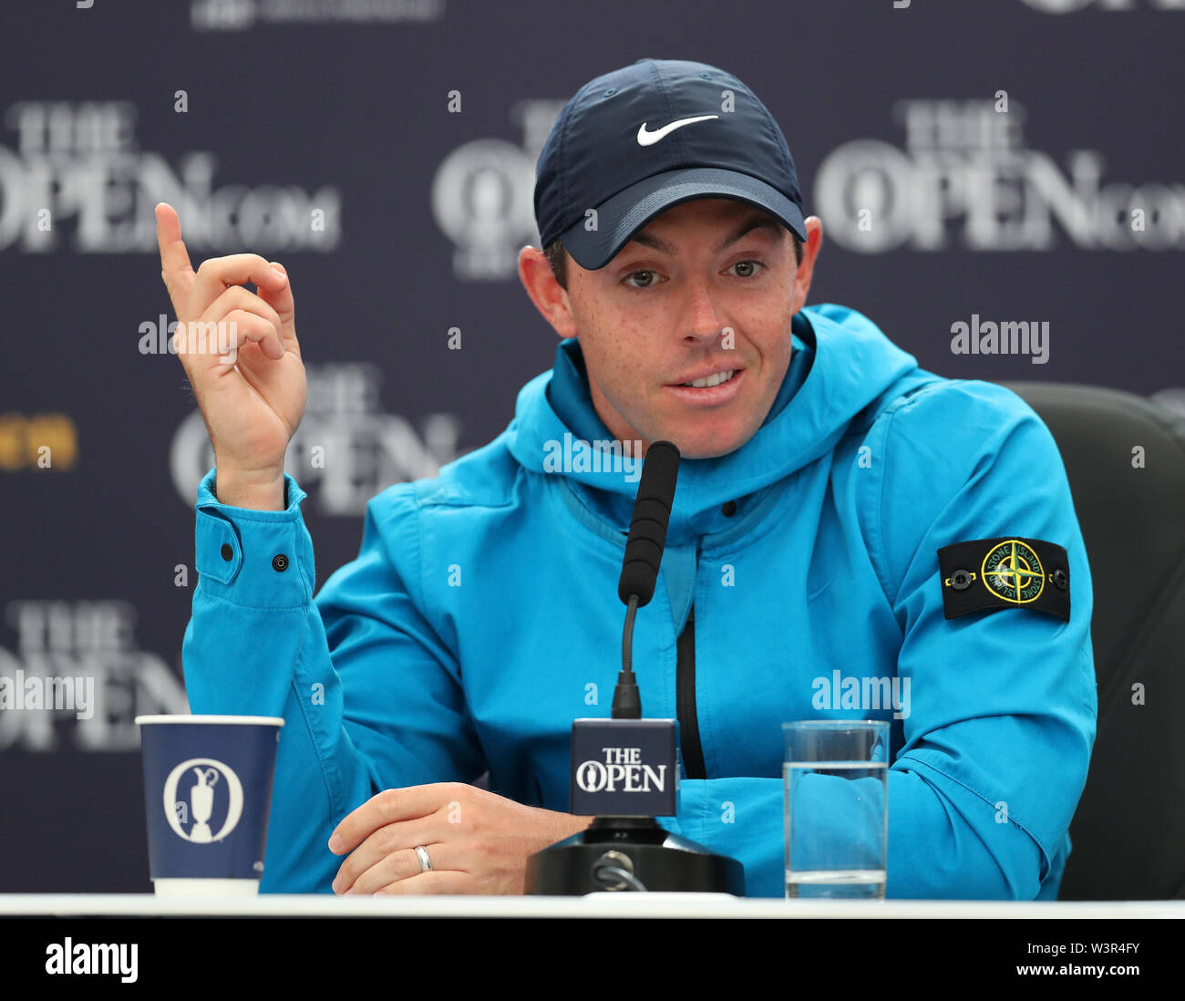 Portrush, County Antrim, Northern Ireland. 17th July 2019. The 148th Open Golf Championship, Royal Portrush Golf Club, Practice day ; Rory McIlroy (NIR) answers a question during his press conference interview Credit: Action Plus Sports Images/Alamy Live News Stock Photo