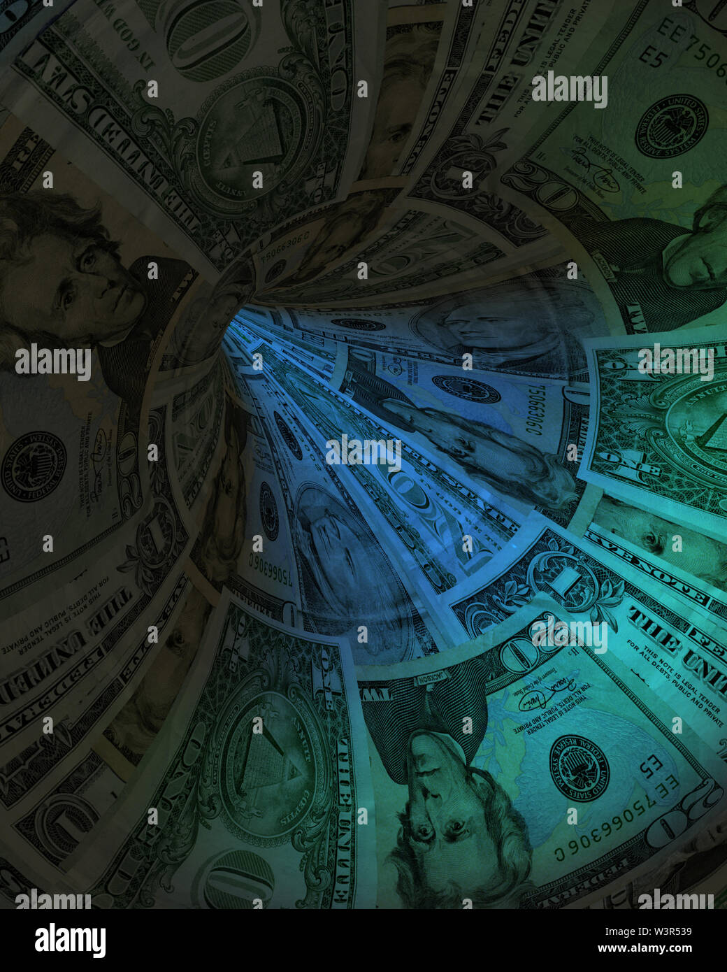 Conceptual art. Tunnel of US Dollars - Stock Image