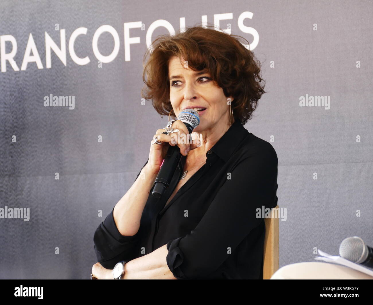 Fanny Ardant is arrived to Francofolies of La Rochelle to speak of songs that have marked him - Stock Image