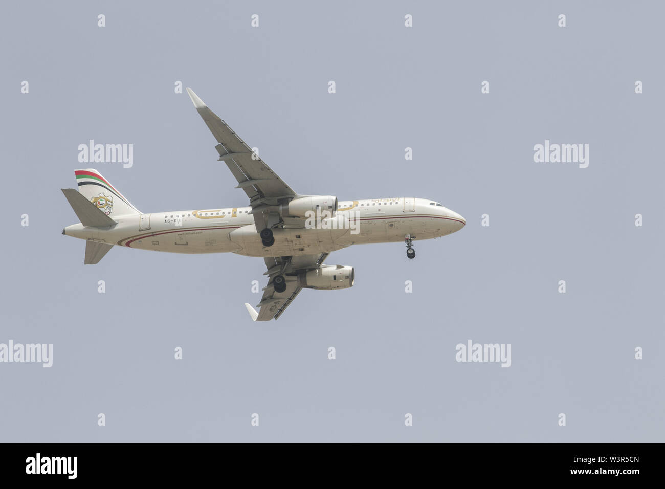 Beirut, Lebanon. 17th July, 2019. An Etihad commercial passenger jet prepares to land at Rafic Hariri International Airport in Beirut. Credit: Amer Ghazzal/SOPA Images/ZUMA Wire/Alamy Live News - Stock Image