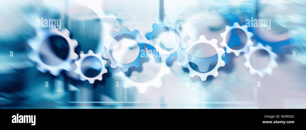 Concept view of setting a technology interface with gear wheel on double exposure background - Stock Image