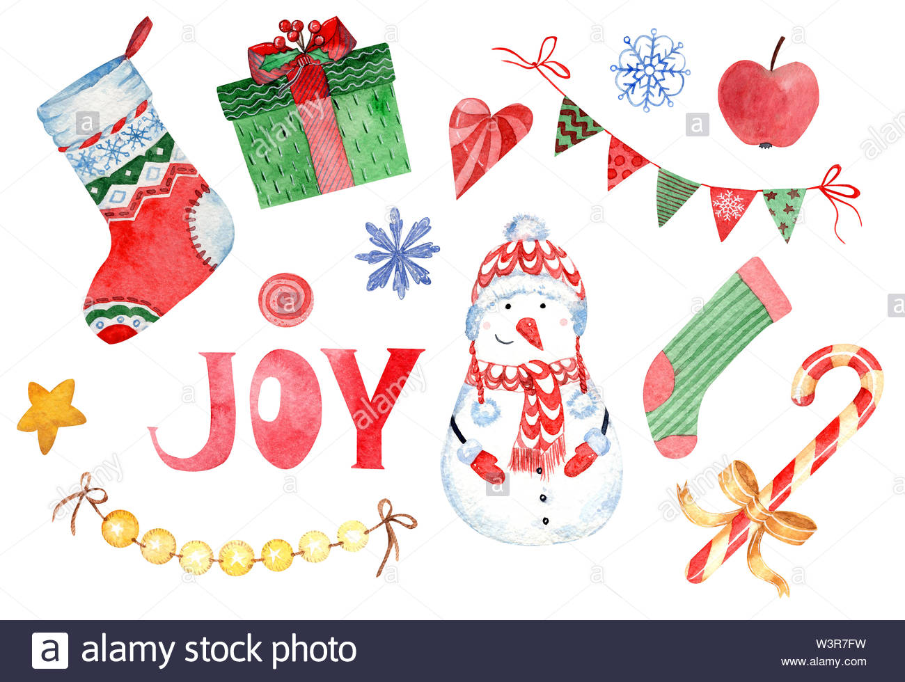 Christmas Day Clipart.Watercolor Clipart Of Happy New Year And Christmas Day