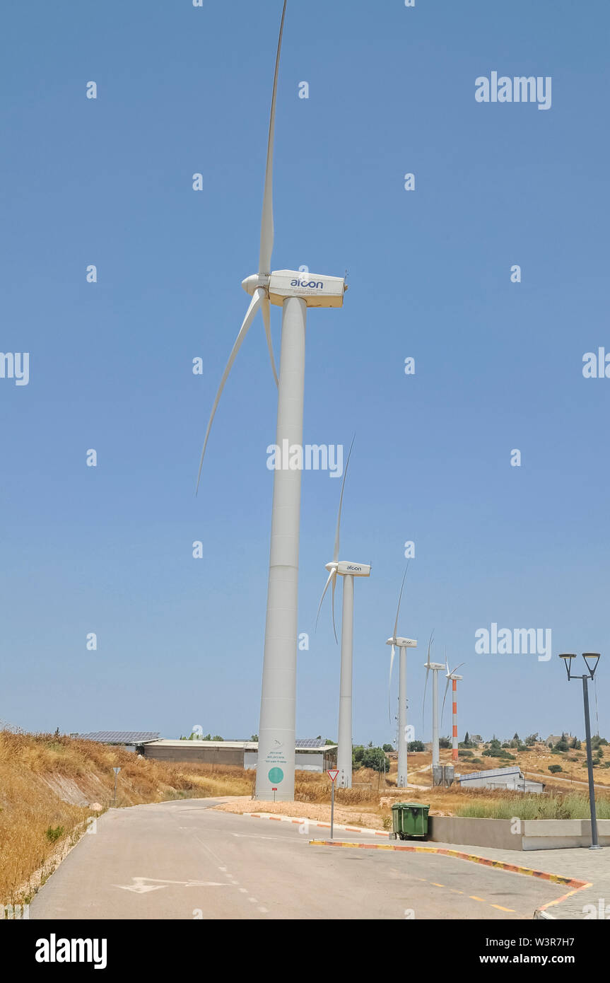 This wind farm project on Mount Gilboa, Israel  contains 25 wind turbines with a capacity of KW850 each, and connecting them to the overall network. T - Stock Image