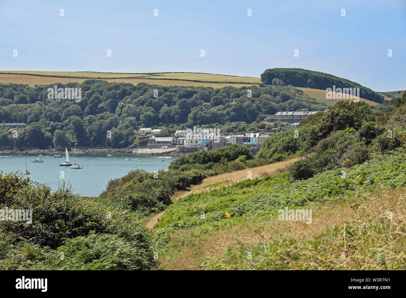 Kingsand and Cawsand as seen from the path when approaching from Mount Edgcumbe Park Stock Photo