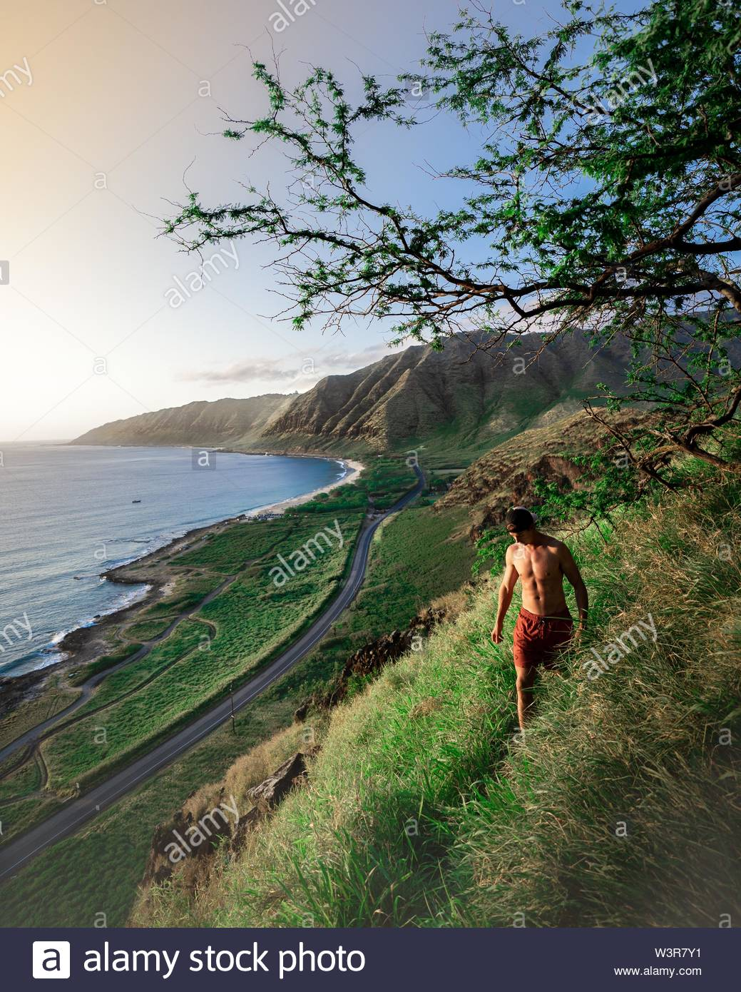A male walking on a steep green hill with the beautiful sea and hills in the background - Stock Image