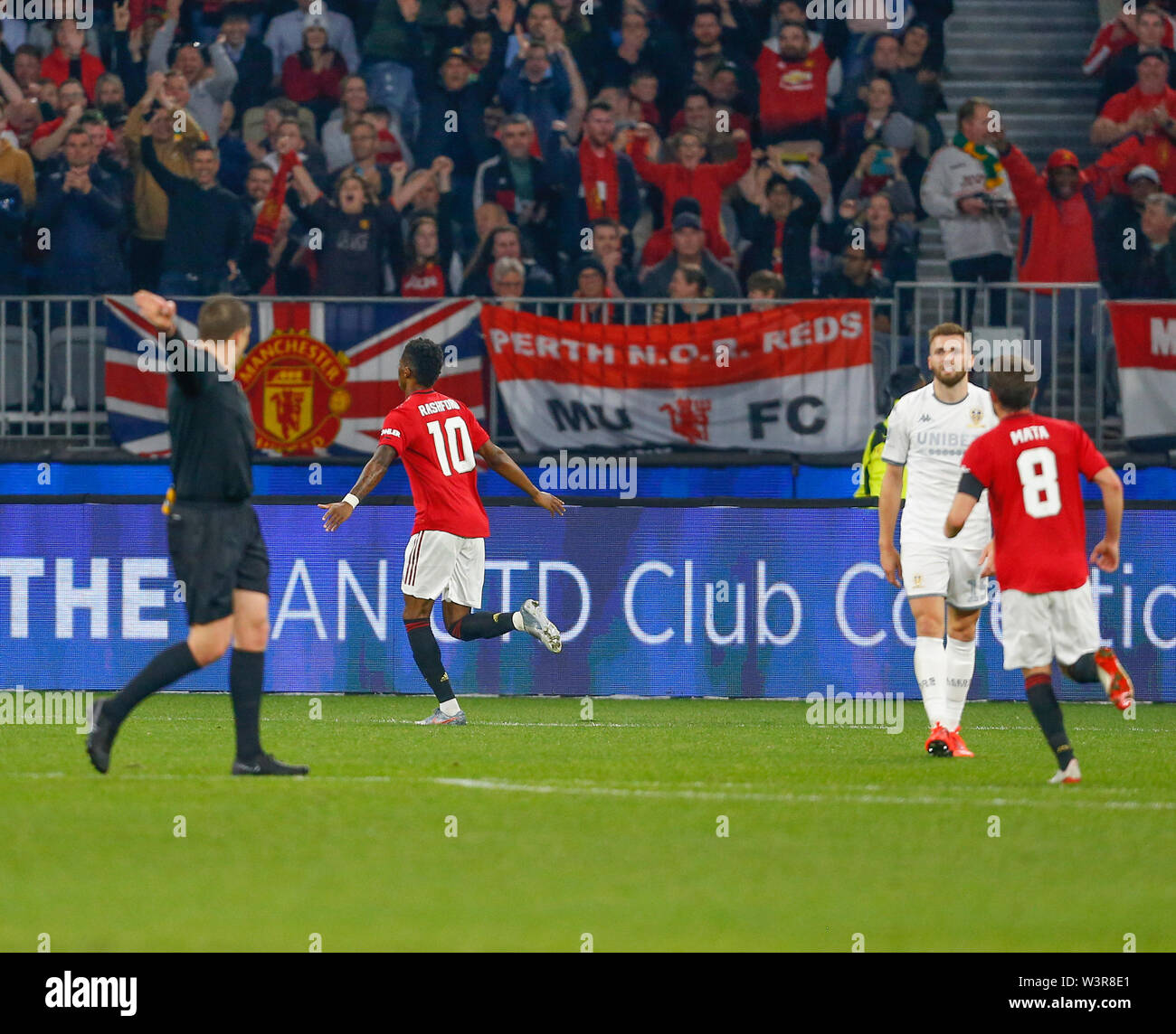 Optus Stadium, Burswood, Perth, W Australia. 17th July 2019. Manchester United versus Leeds United; pre-season tour; Marcus Rashford of Manchester United celebrates a goal in the 27th minute to make it 2-0 to Manchester United Credit: Action Plus Sports Images/Alamy Live News Stock Photo