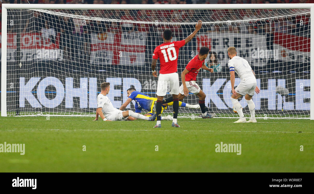 Optus Stadium, Burswood, Perth, W Australia. 17th July 2019. Manchester United versus Leeds United; pre-season tour; Mason Greenwood of Manchester United scores in the 7th minute to put Manchester United 1-0 ahead Credit: Action Plus Sports Images/Alamy Live News Stock Photo