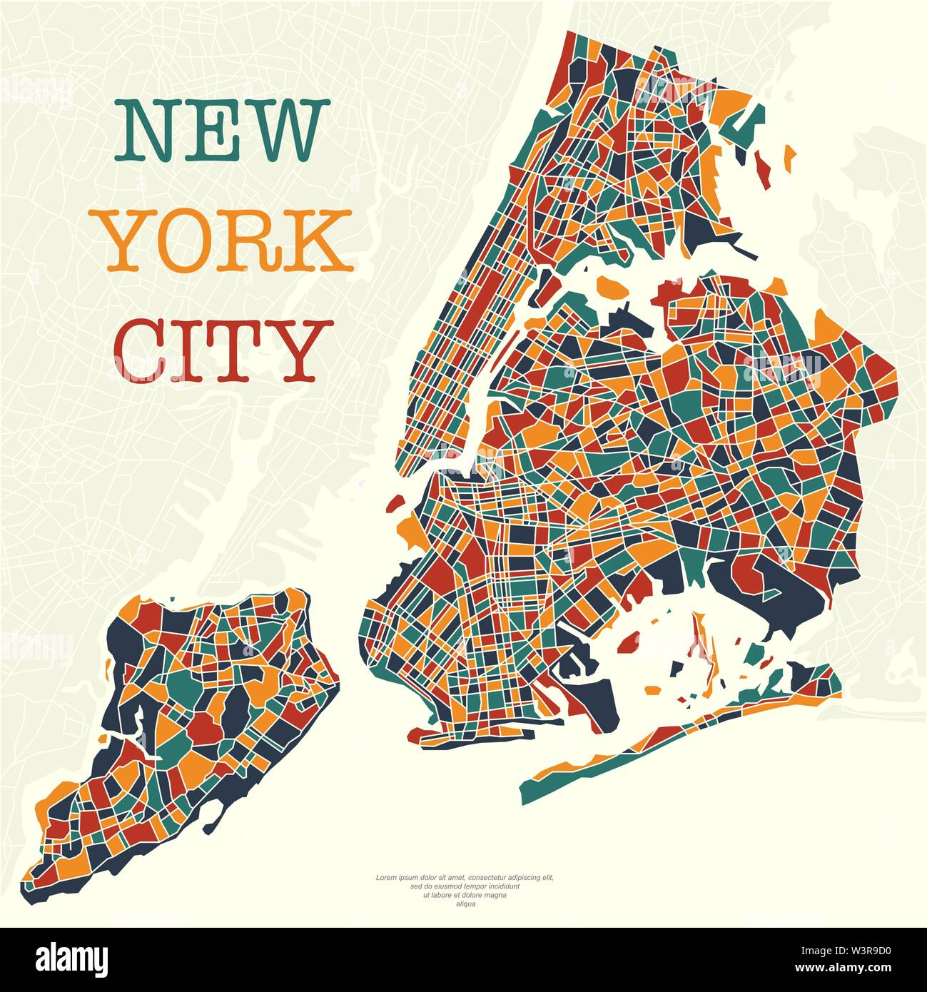 New York city map different colors and sample text - Stock Vector