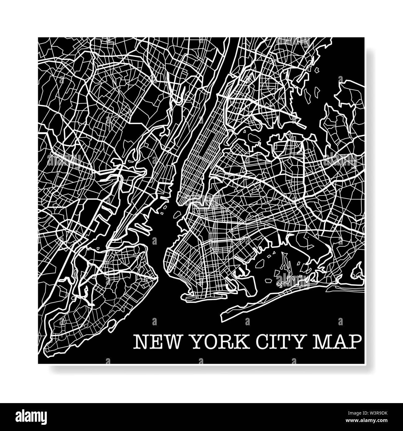 Black and white New York city map background - Stock Vector