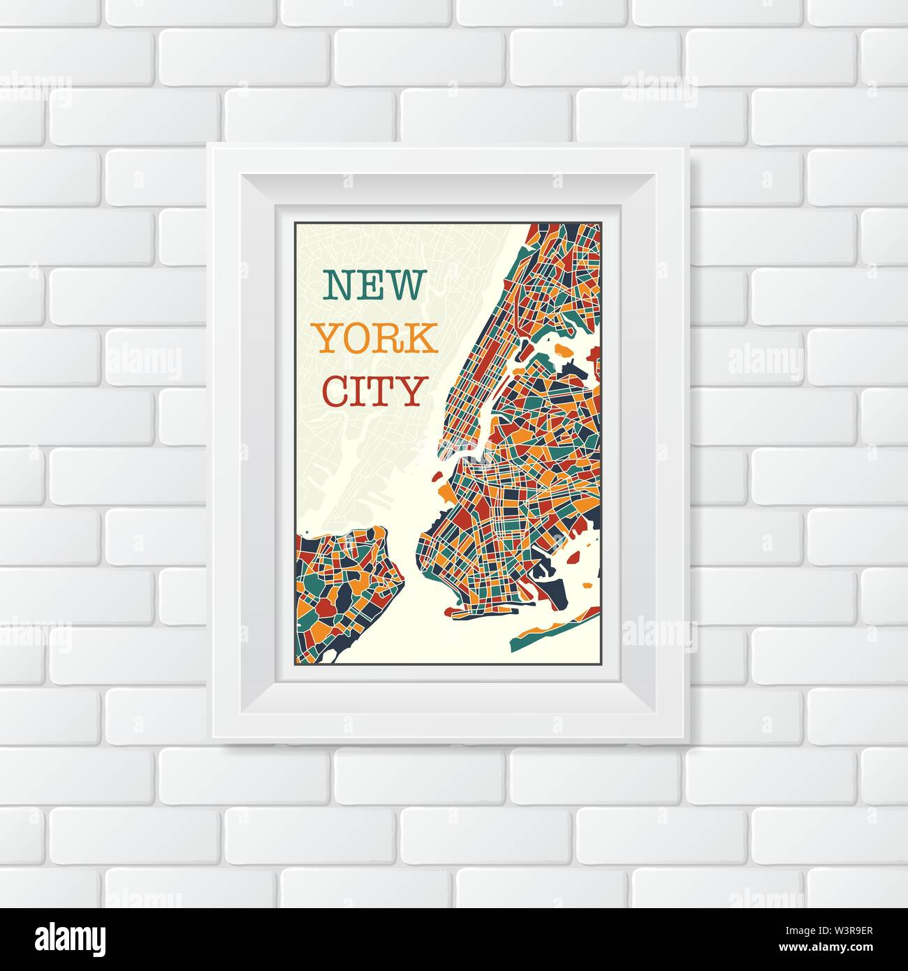 Abstract white background with different grunge bricks and picture frame with new york map and sample text - Stock Vector