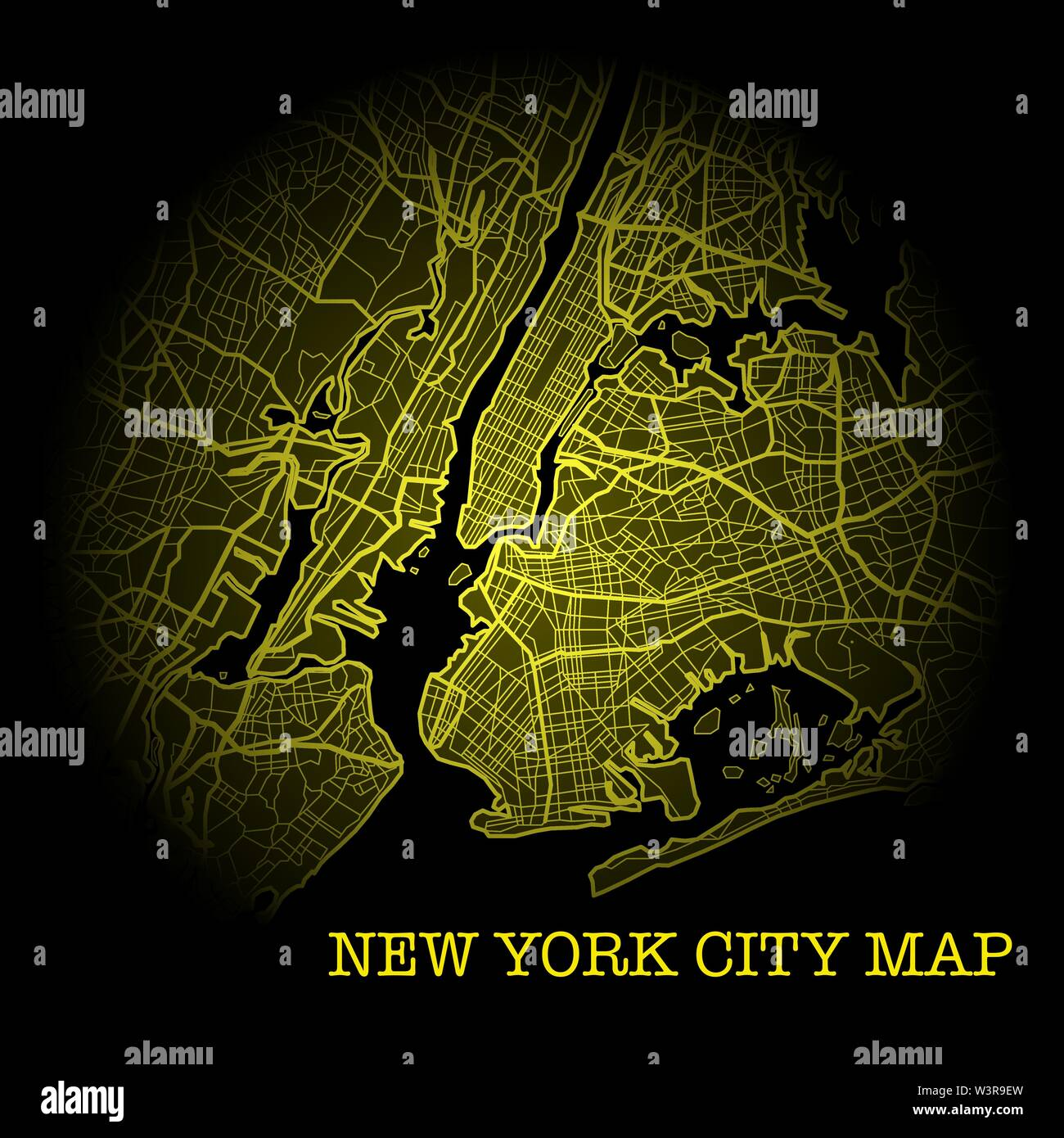 Black and yellow New York City map silhouette background - Stock Vector