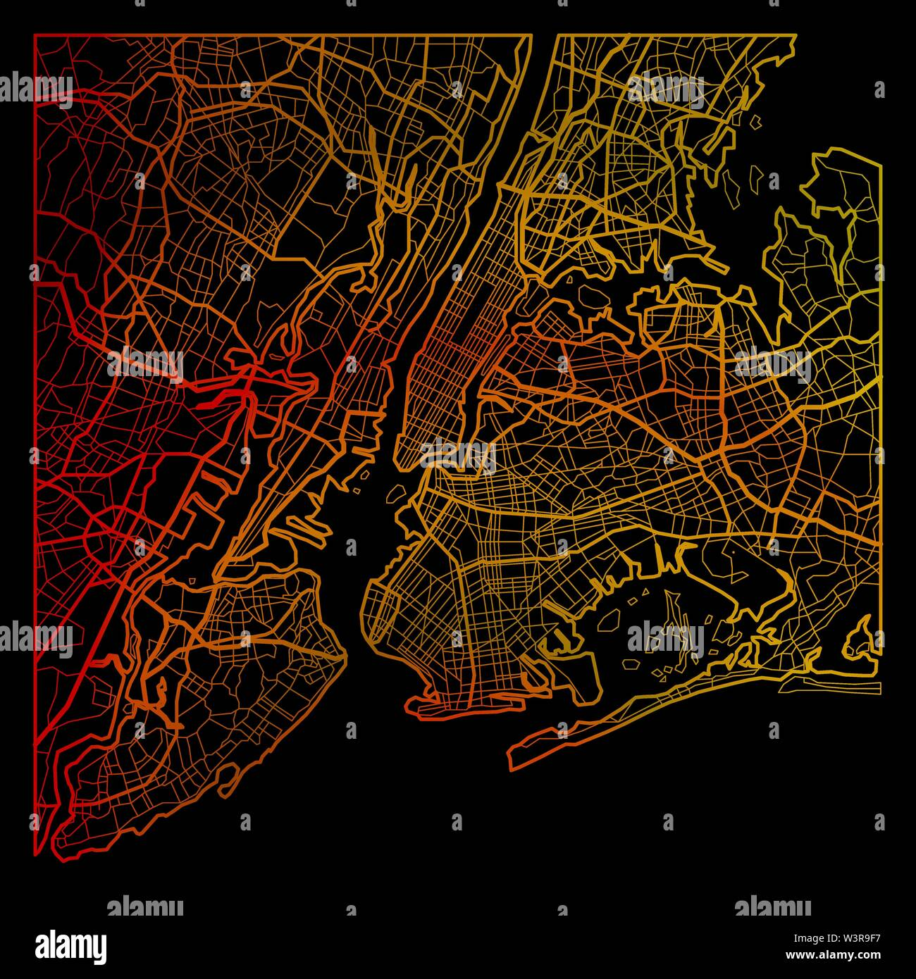 Color New York City map silhouette isolated on black background - Stock Vector