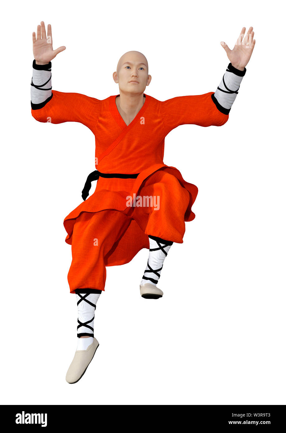 3D rendering of a shaolin monk exercising isolated on white background - Stock Image