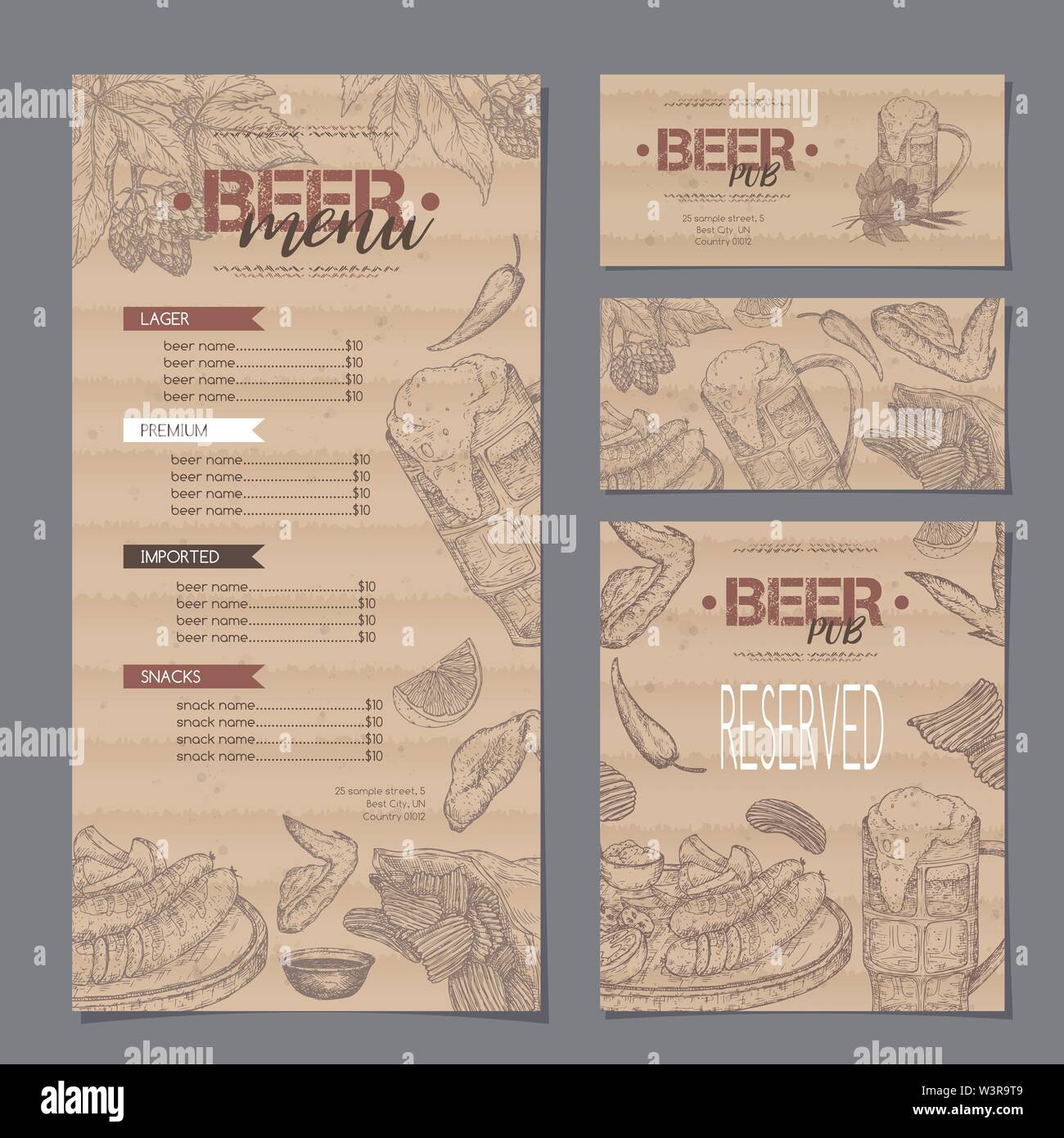 Beer bar menu and card templates featuring beer mug, hop branch, wheat, chips, chicken wings and snack plate. Great for bar, restaurant, cards and men - Stock Image