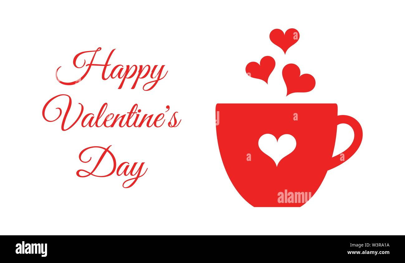 Valentine's Day red coffee or chocolate cup card. Vector illustration card - Stock Image