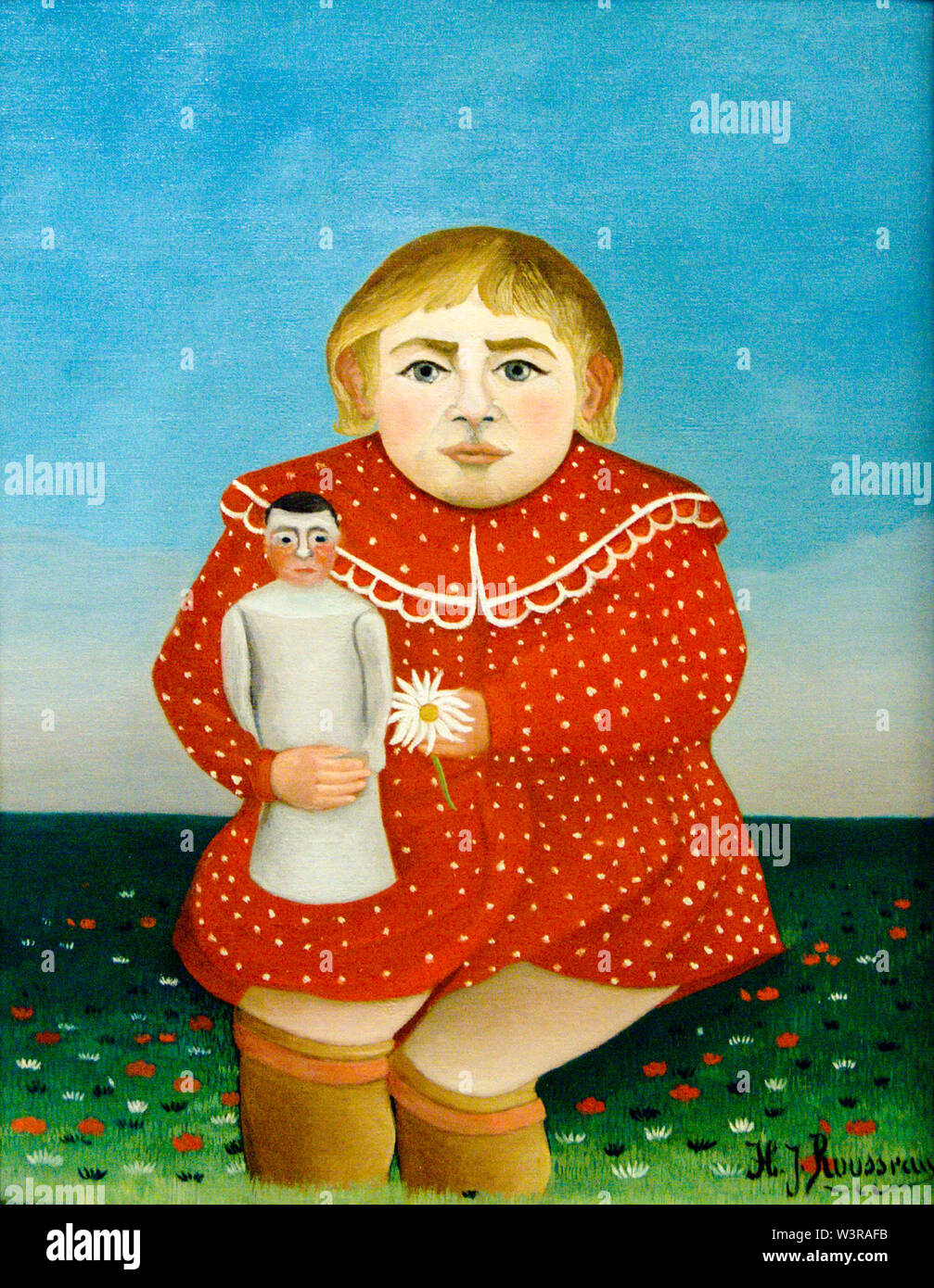 Henri Rousseau, Child with a doll, portrait painting, 1905 - Stock Image