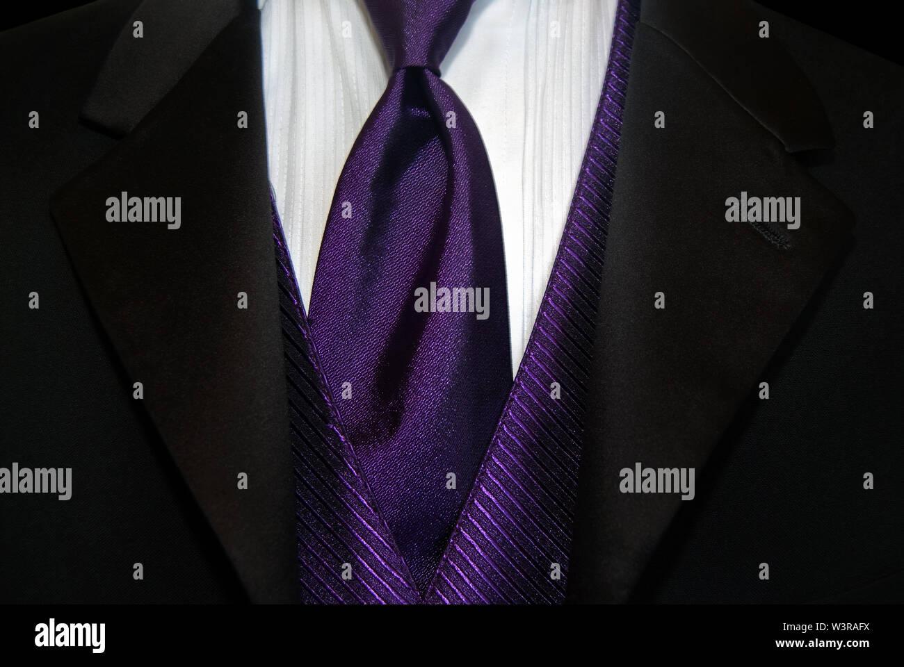 Bright purple tie and vest accenting black tuxedo. - Stock Image