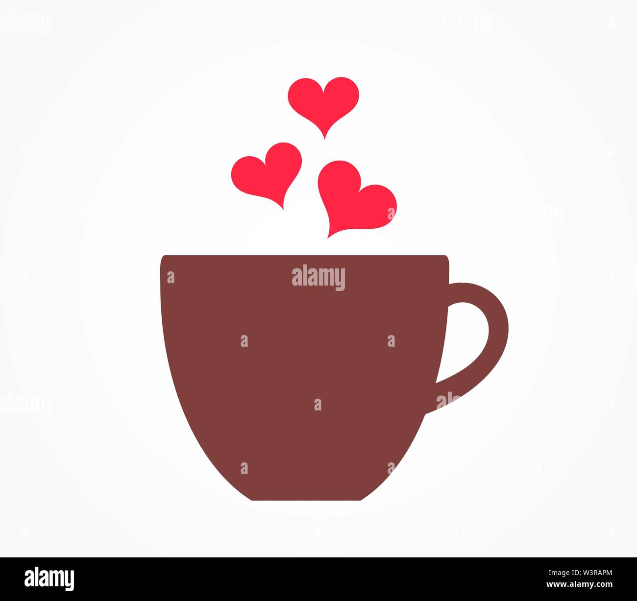 Coffee cup with hearts icon. Valentine's Day vector illustration. - Stock Image