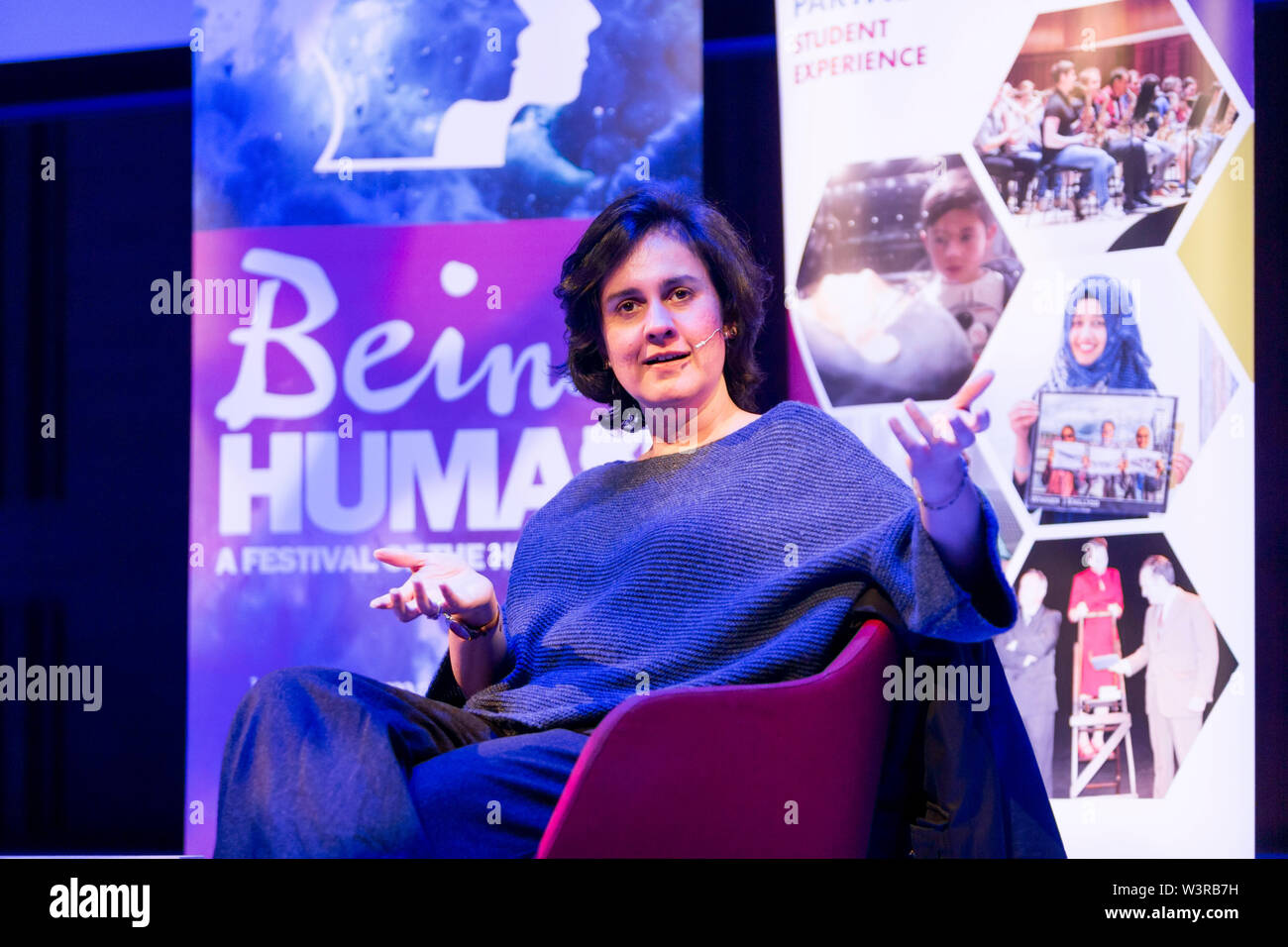 Writer and novelist Kamila Shamsie speaking at the Being Human Festival, Swansea. - Stock Image