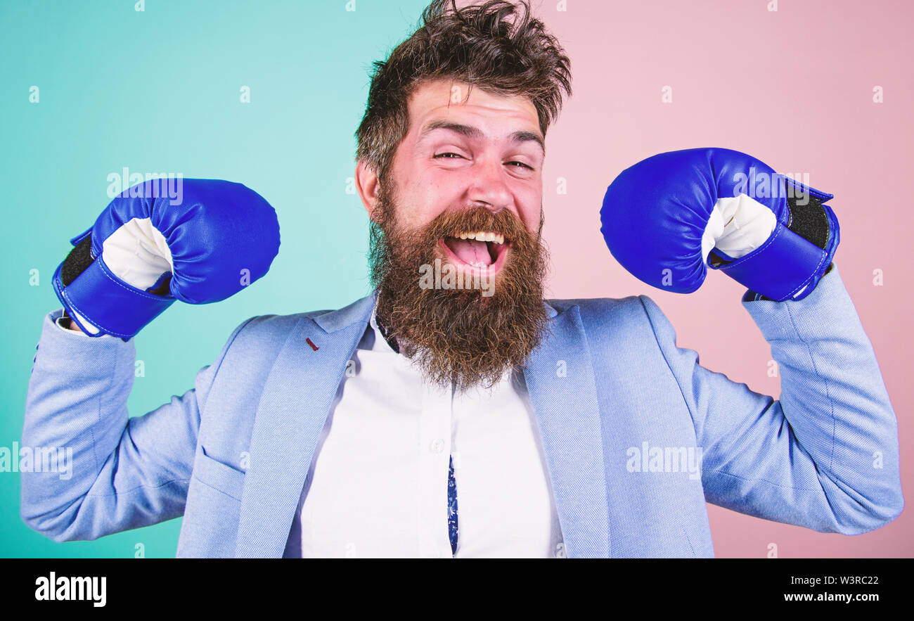 I am the champion. Bearded man in boxing stance. Fighting for success in sport and business. Businessman in formal wear and boxing gloves. Sport improves his leadership skills. Strong and powerful. - Stock Image