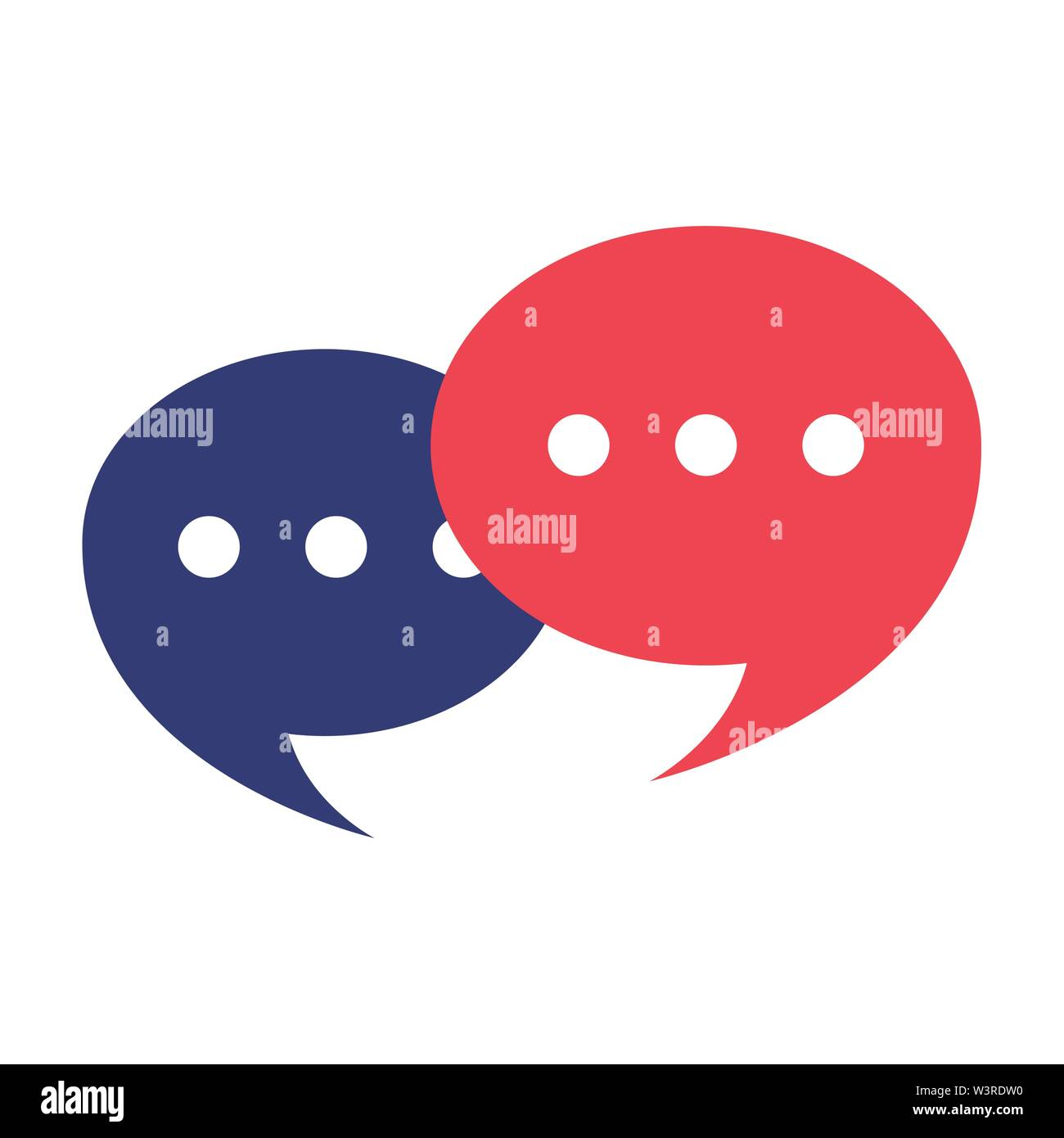chat comic red and blue speech bubbles cartoon vector illustration graphic design - Stock Image