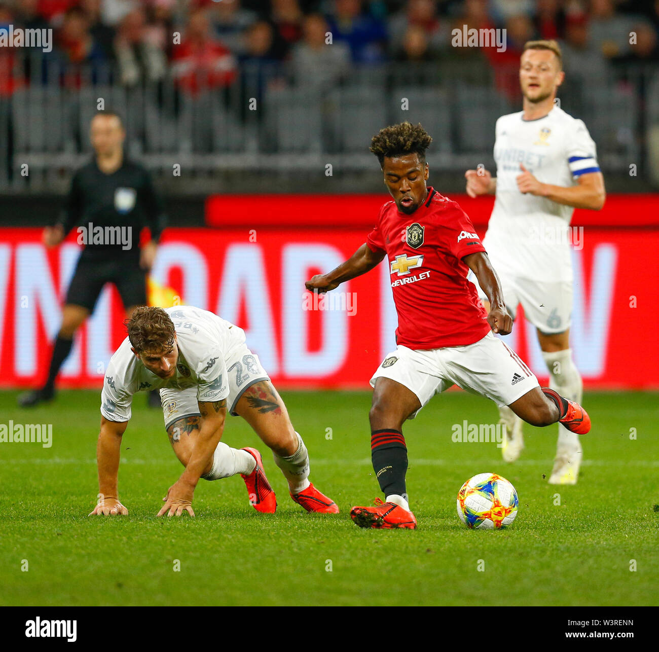 Optus Stadium, Burswood, Perth, W Australia. 17th July 2019. Manchester United versus Leeds United; pre-season tour; Angel Gomes of Manchester United has a shot from just outside the box Credit: Action Plus Sports Images/Alamy Live News Stock Photo