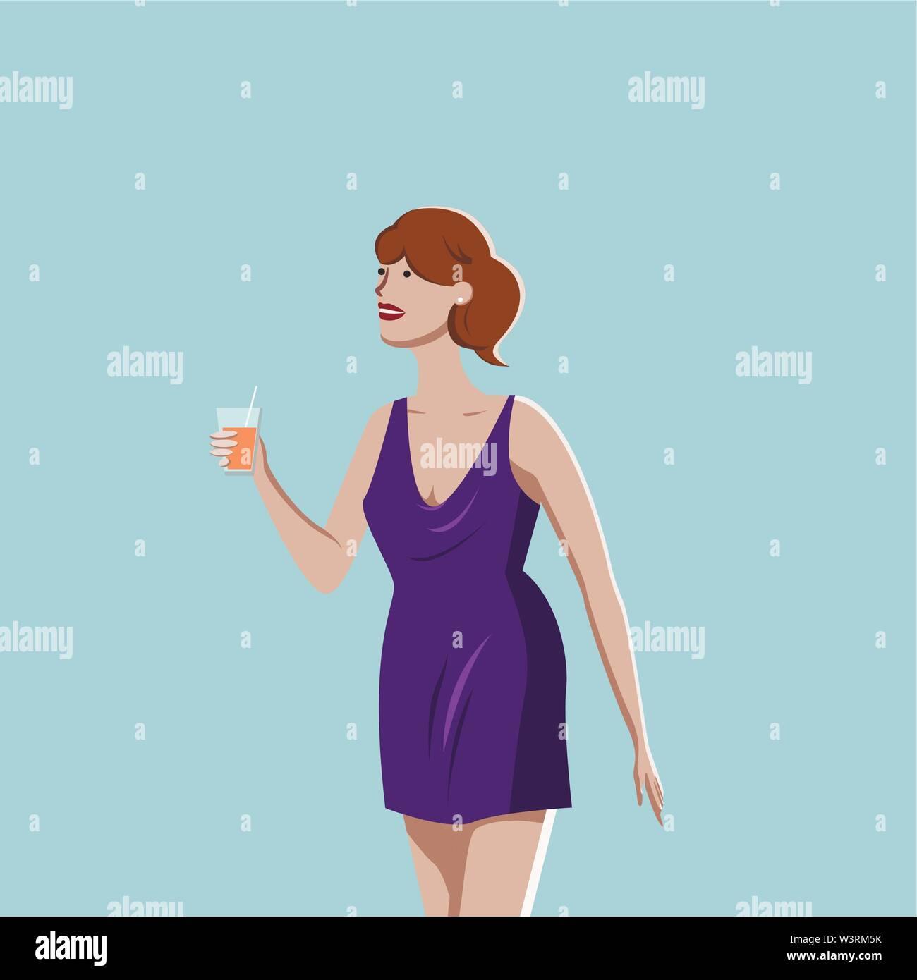 Woman tasting juice or cocktail, vector sketch Stock Vector