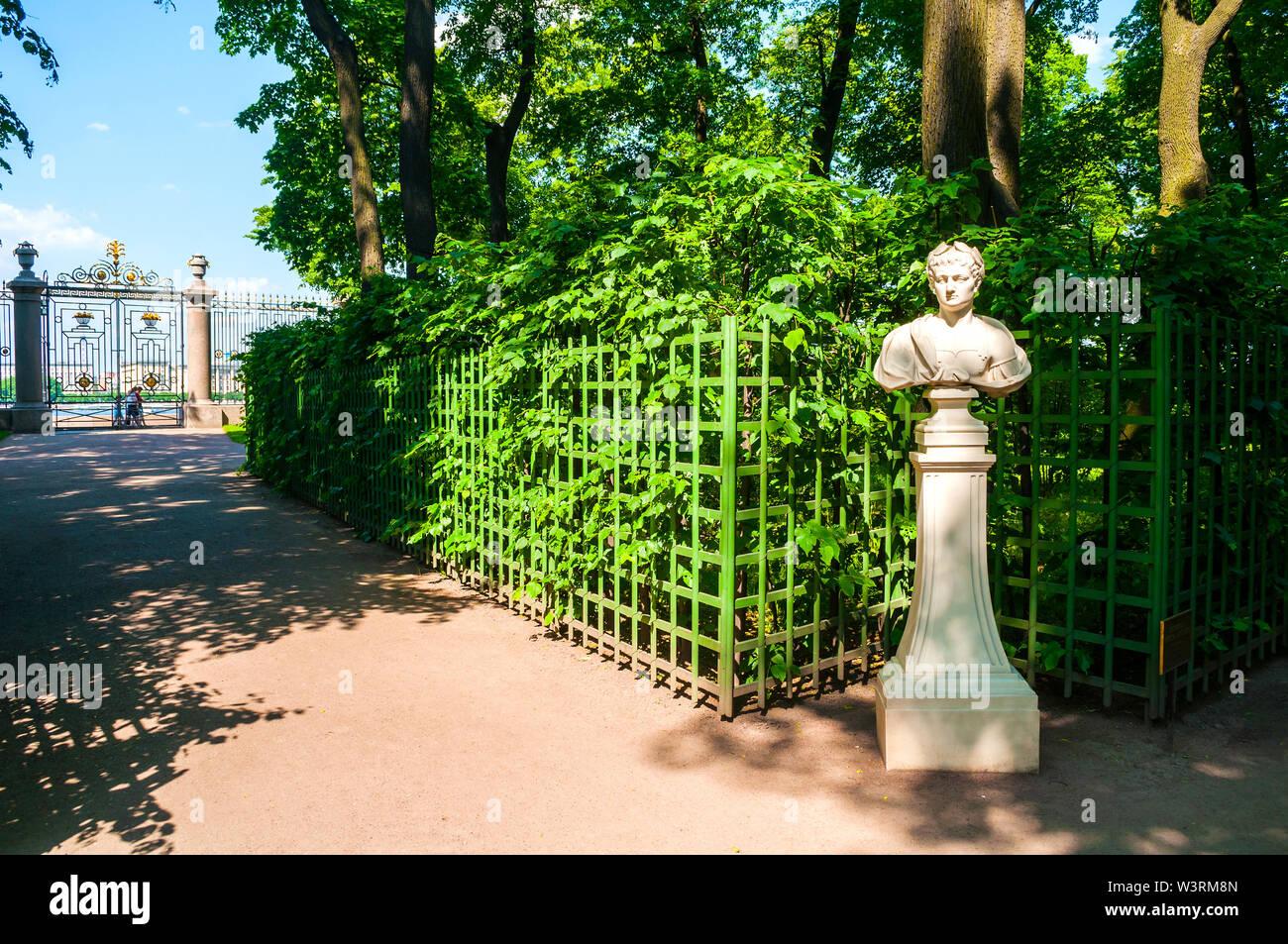 St Petersburg, Russia - June 6, 2019. The sculpture of the Roman Emperor Vespasian. Summer garden - the most famous garden of St Petersburg Russia - Stock Image