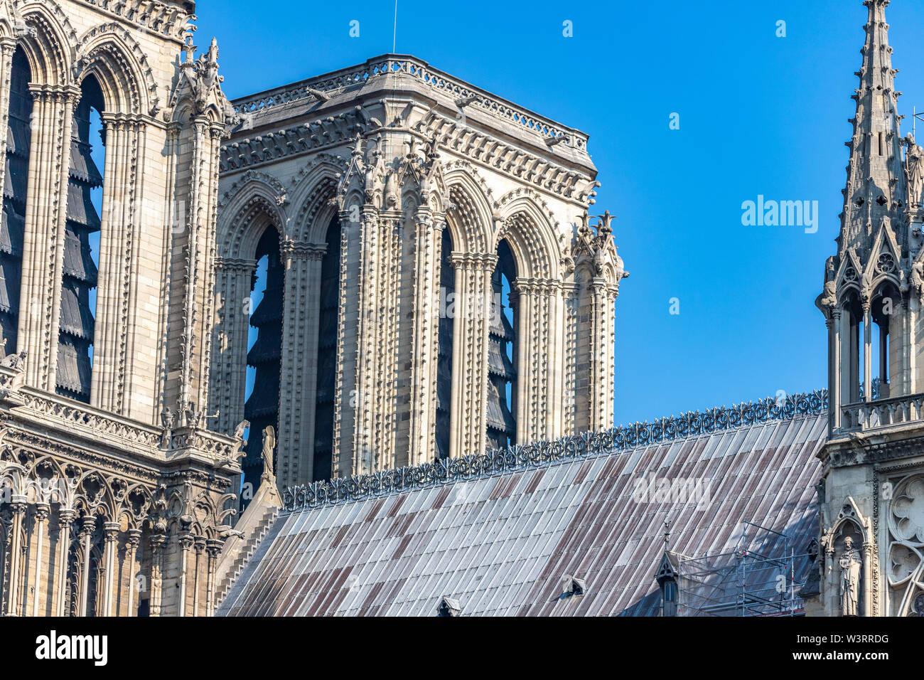 Notre Dame de Paris Cathedral, Towers on west facade, Paris, France Stock Photo