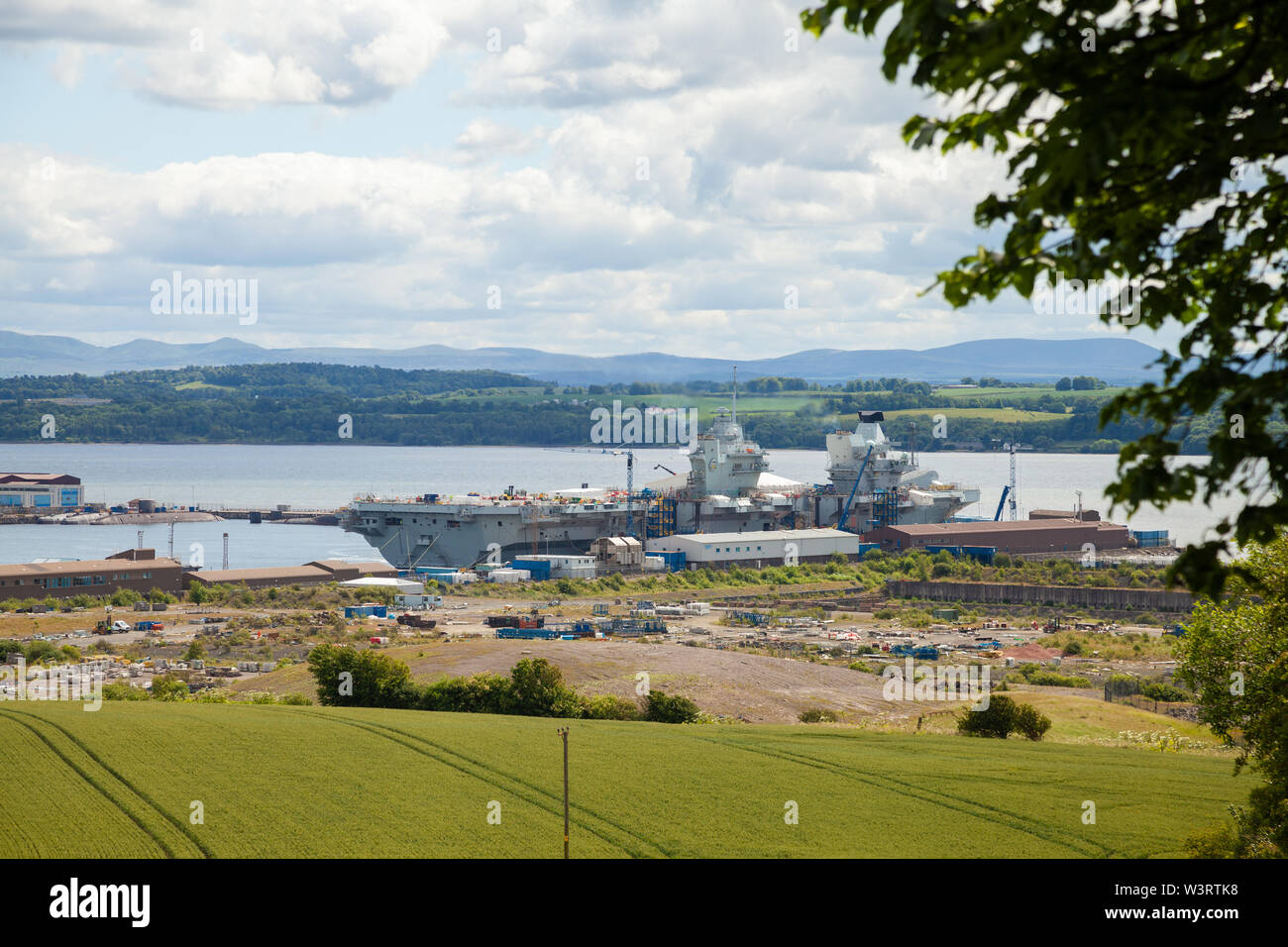 Aircraft carrier HMS Prince of Wales being built at Rosyth dockyard Fife Scotland Stock Photo