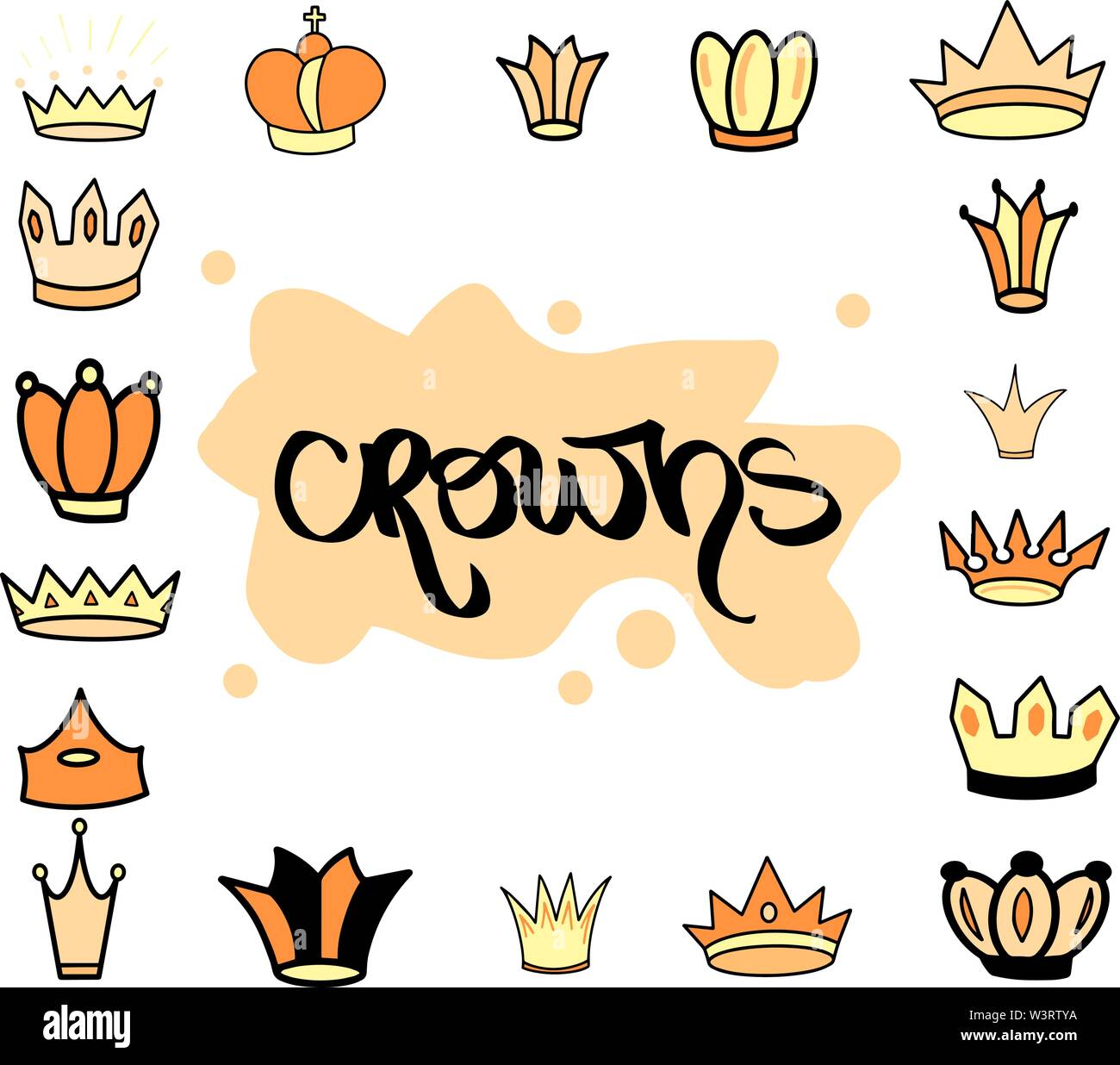 Hand drawn crown yellow orange different tiara set for princess. Cute isolated diadem vector illustration for wedding icon, logo, wallpaper design. - Stock Image