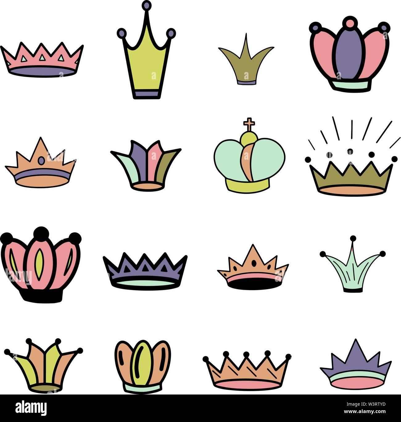Crowns. Tiara. Diadem. Sketch crown. Hand drawn queen tiara, king crown. Royal imperial coronation symbols, monarch majestic jewel. Princess diadem. - Stock Image