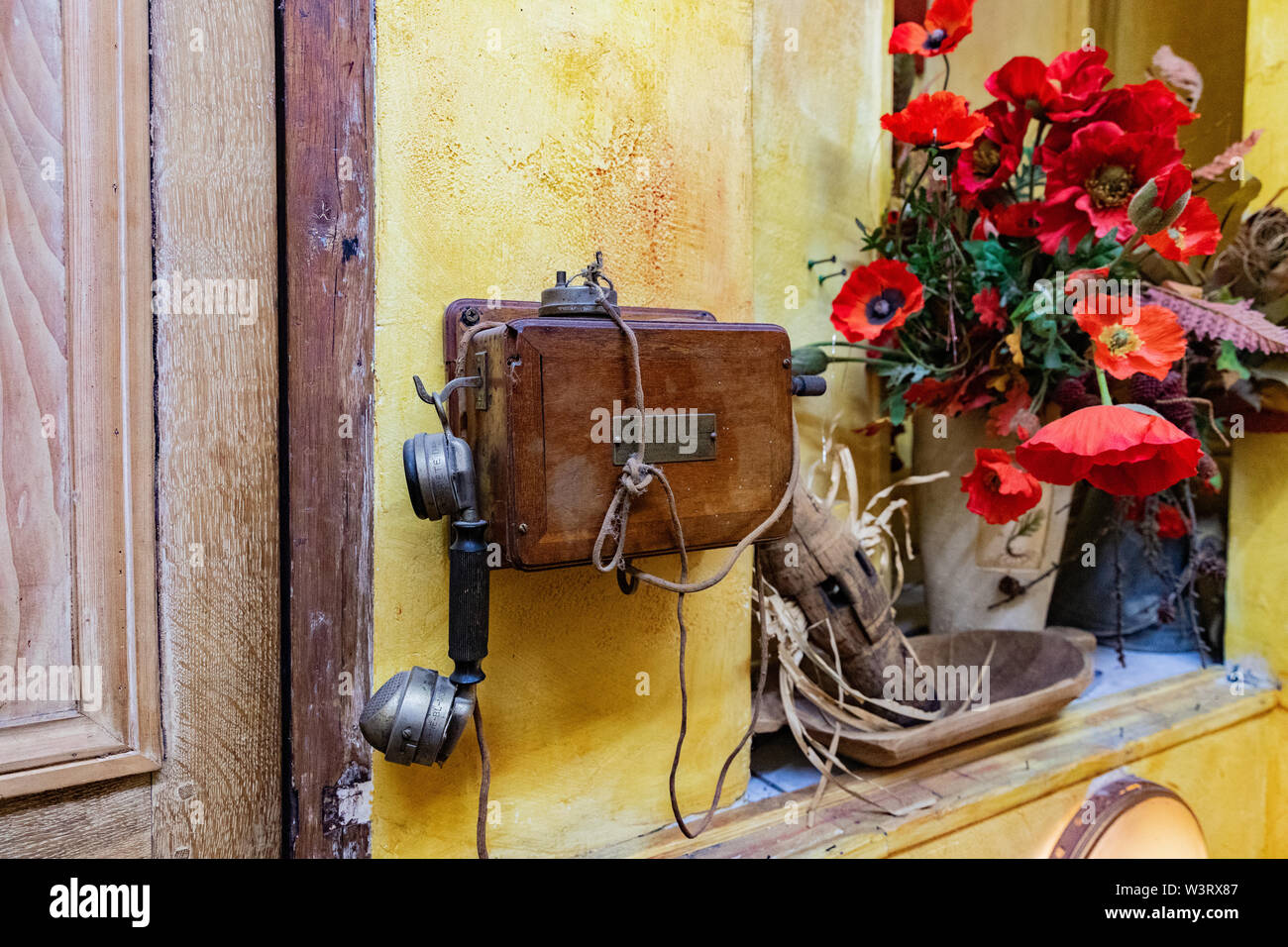 Paris, France vintage telephone and flowers - Stock Image