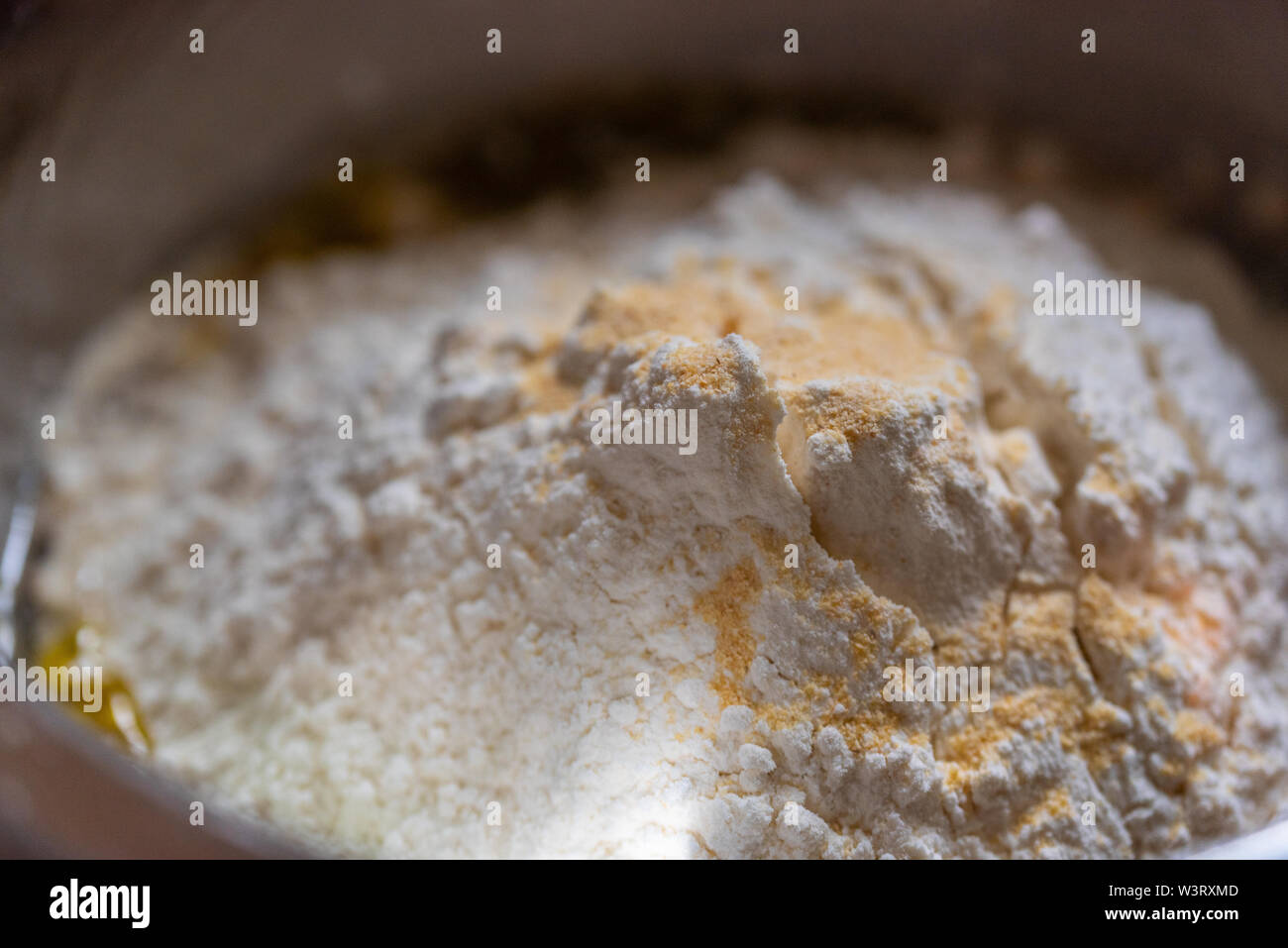 Bowl of pastries for fresh delicious pizza dough Stock Photo