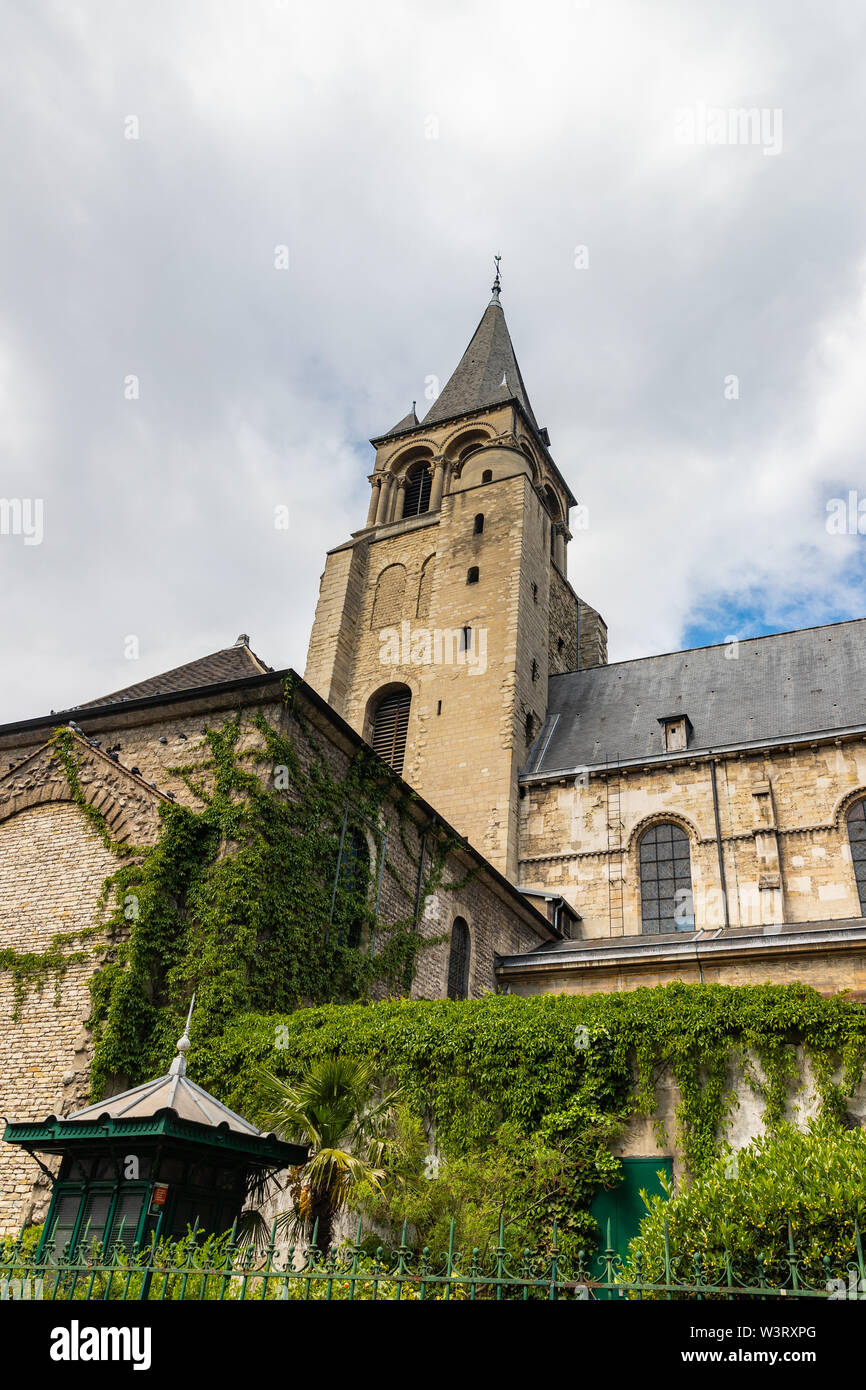 aris, France, Saint Germain des Pres church with vines on the medieval walls - Stock Image