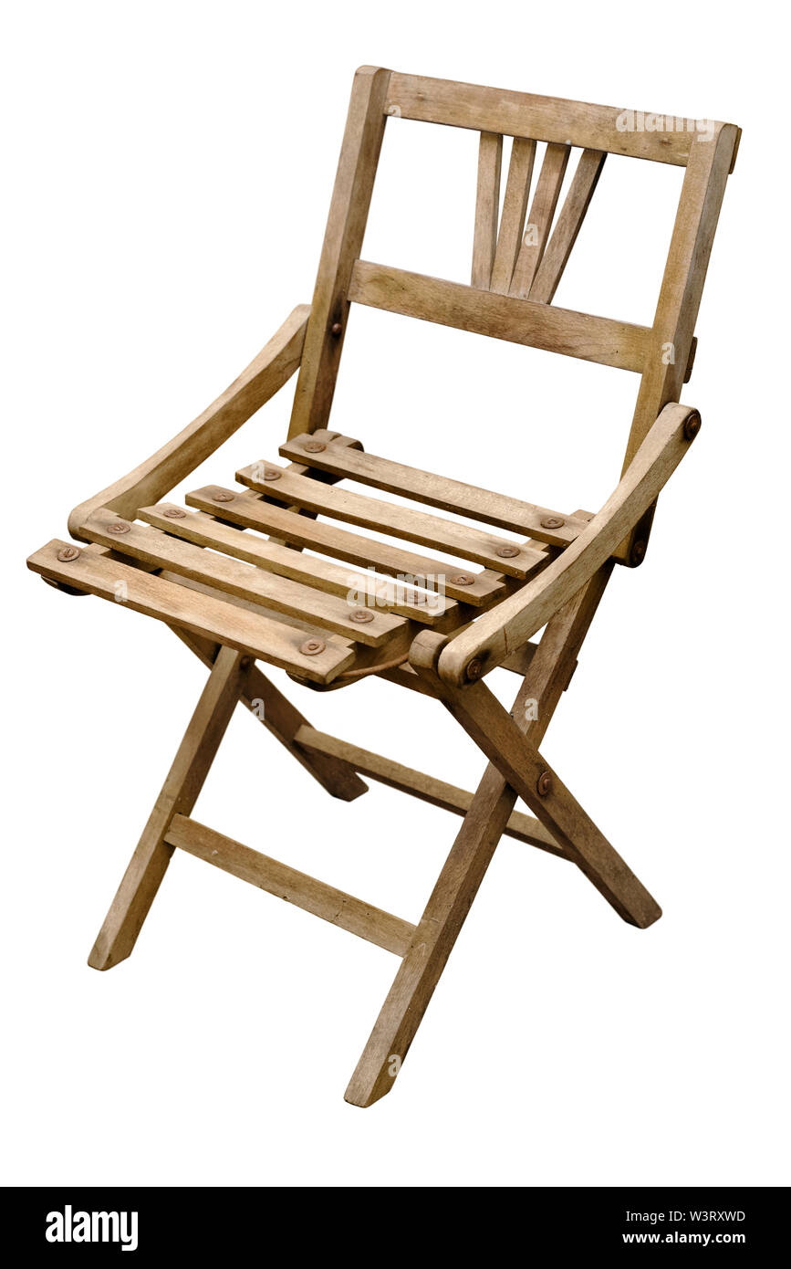 Old Wooden Folding Chair Stock Photos Old Wooden Folding Chair