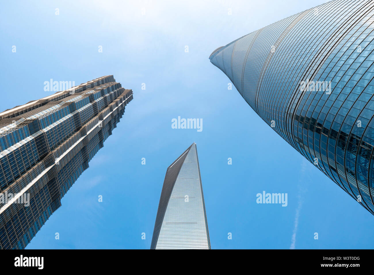 Shanghai, China - May 8 2019 : Shanghai Tower, world Financial Center and Jin Mao Tower in Shanghai. The modern building of the lujiazui. These are th - Stock Image