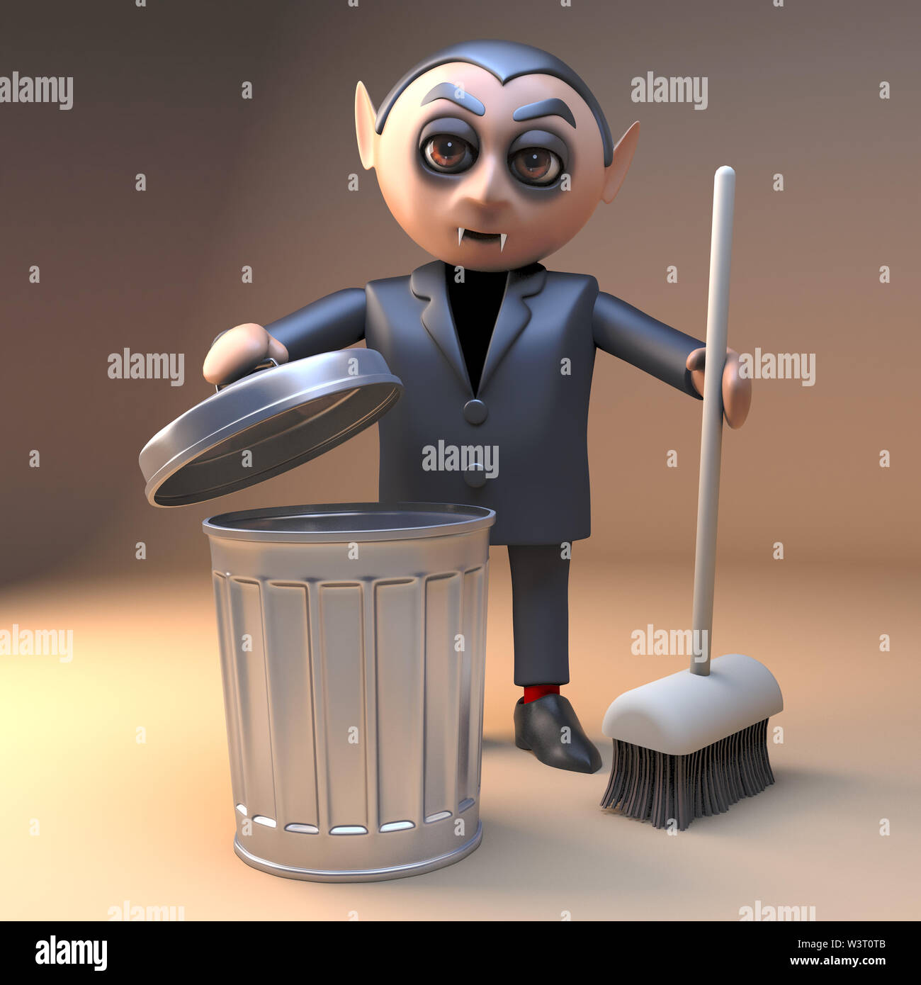 Clean living vampire dracule 3d character cleaning with a broom and rubbish bin, 3d illustration render - Stock Image