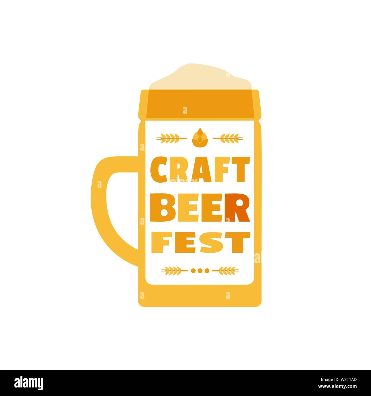 Craft Beer Festival hand drawn flat color vector icon - Stock Image