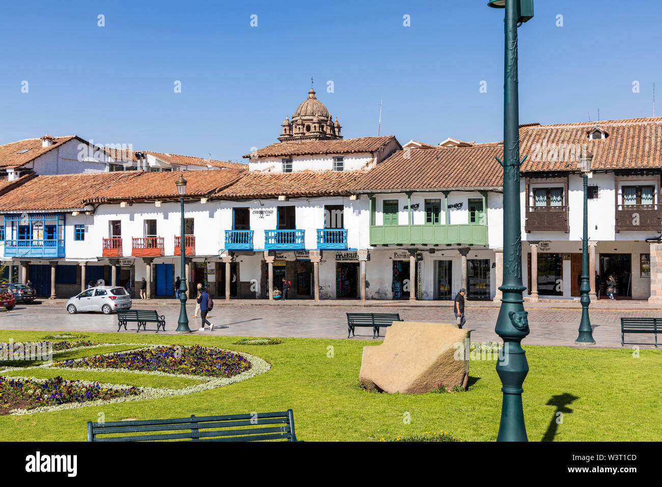 General view of the Plaza de Armas in Cusco, Peru, South America - Stock Image