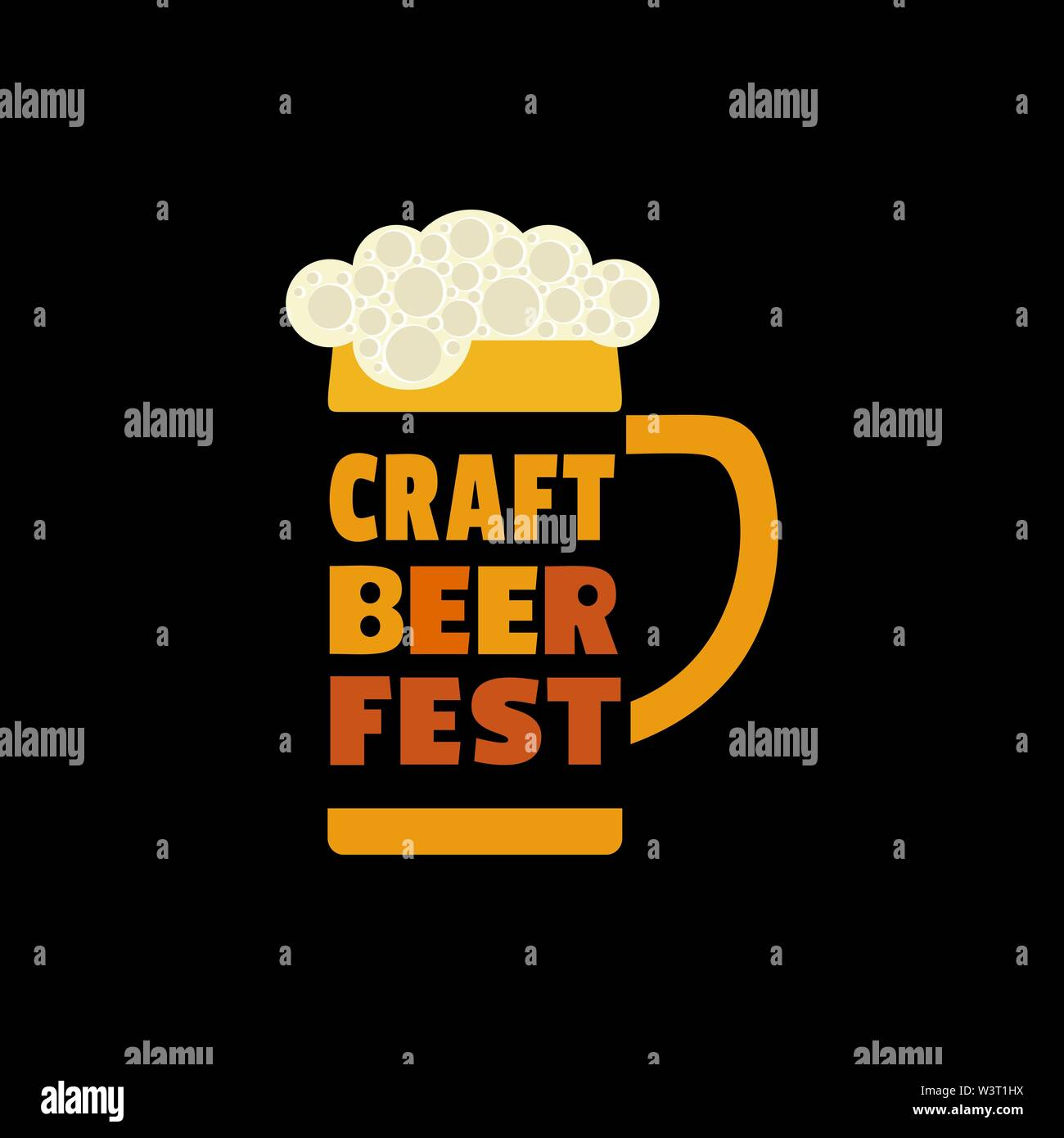 Craft Beer Festival hand drawn flat color vector icon Stock Vector