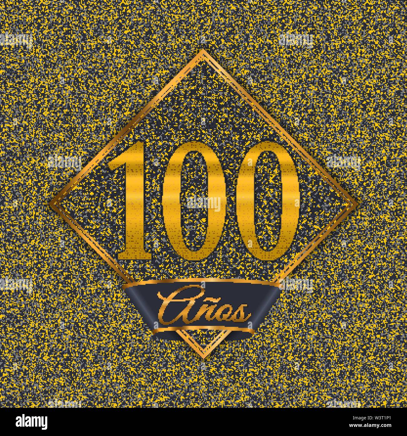 Spanish golden number one hundred years (100 years) celebration design. Anniversary golden number with luxury backgrounds for your birthday party - Stock Image