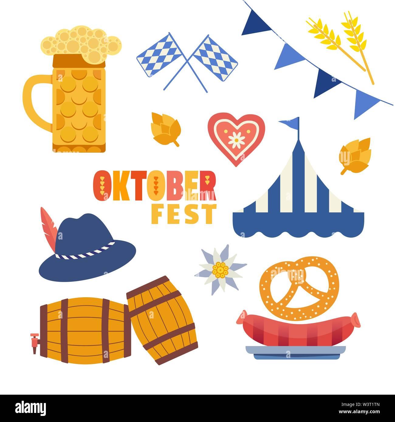 Oktoberfest hand drawn flat color vector icons set - Stock Image