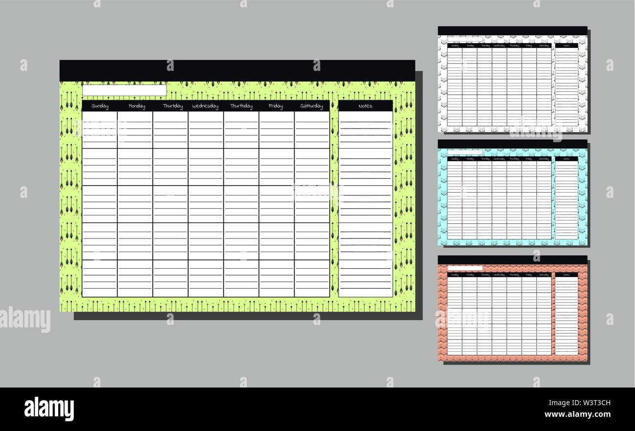 Planner Template for whole year. Set Wall Calendar Endless. Seven weekly columns. bright background with arrows. Bright backdrop. Vector Design Print Template. Week Starts Sunday. Kit with spase for note. collection for four sesone etnic pattern Stock Vector