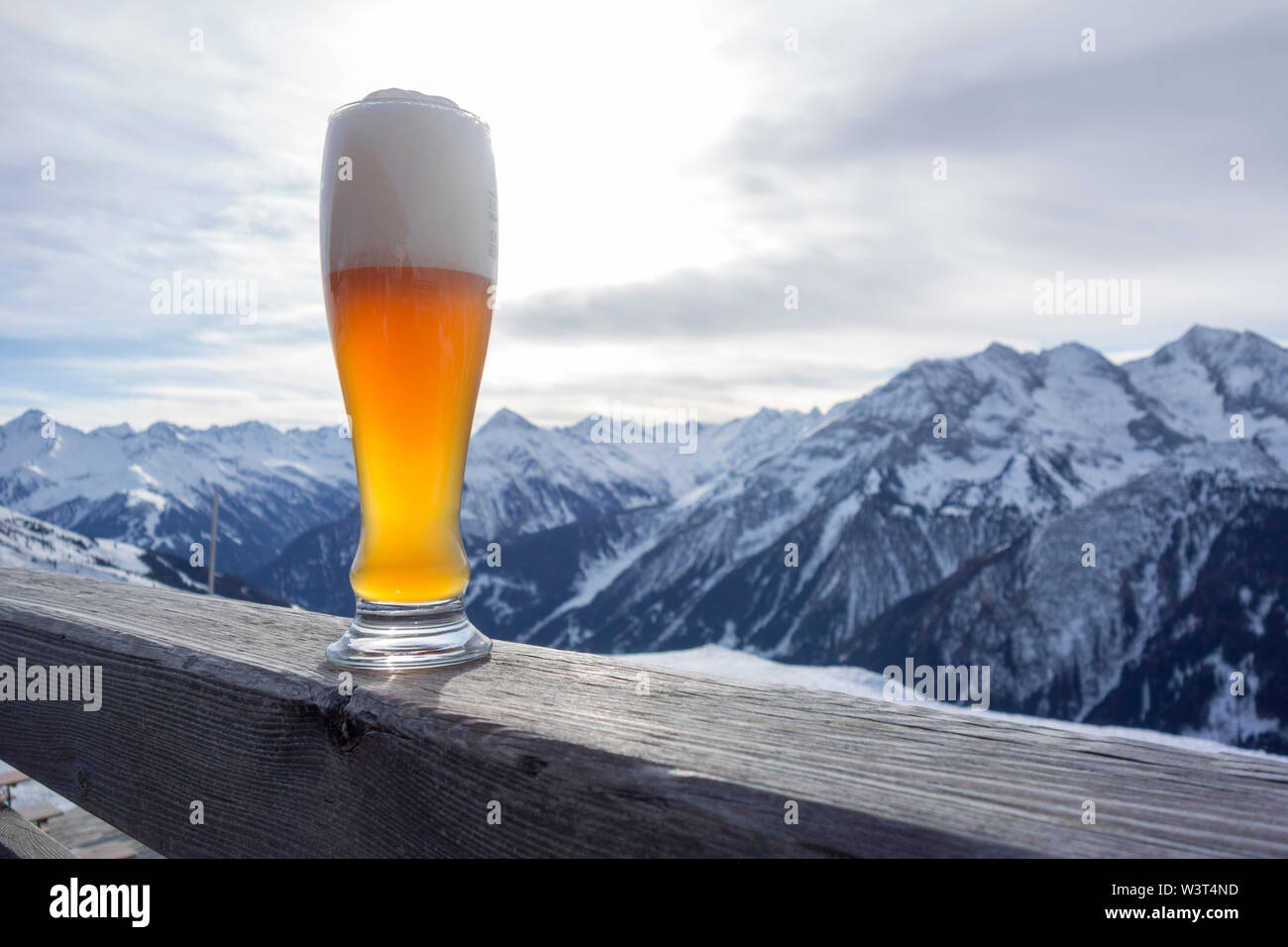 Weizener Beer in the mountains Stock Photo